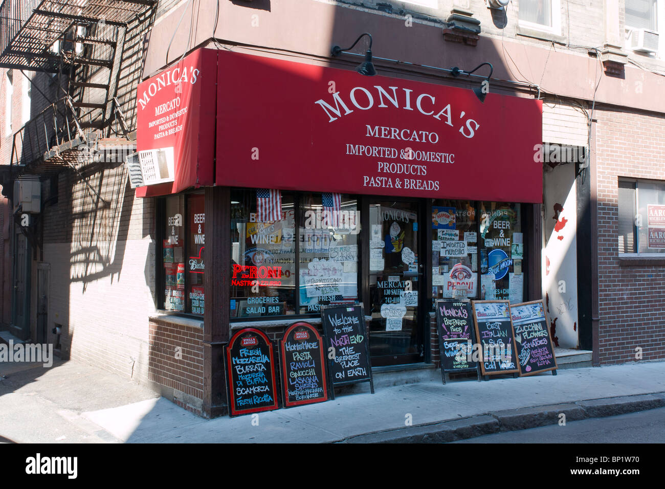 North End Storefront, Boston, Massachusetts - Stock Image