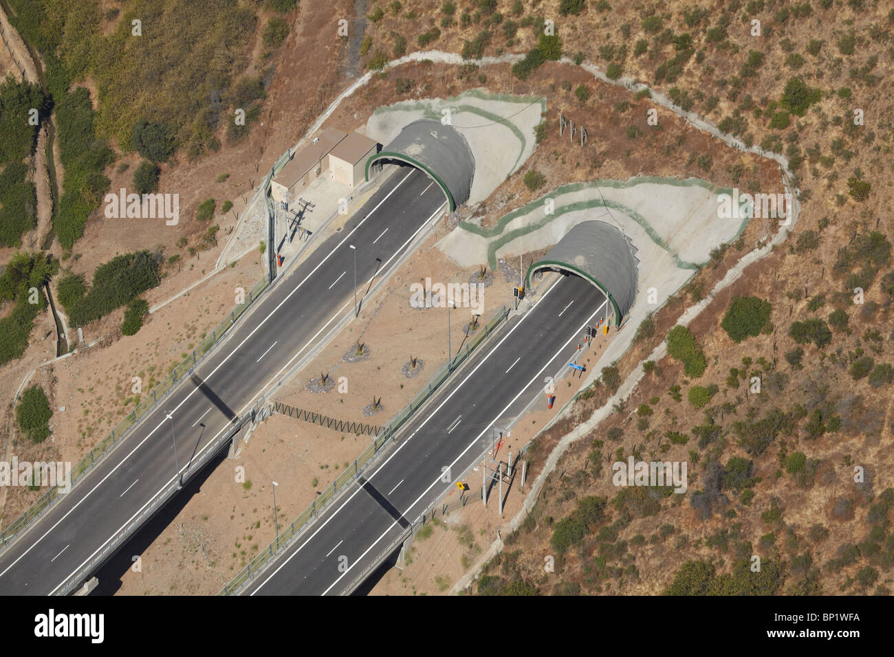 Tunnel on Road from Santiago north to Chicureo, Chile, South America - aerial - Stock Image