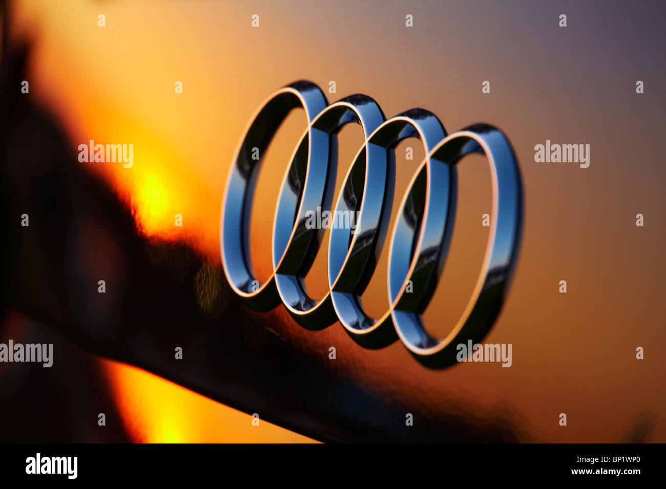Sunset Reflected in Audi Badge, Santiago, Chile, South America - Stock Image