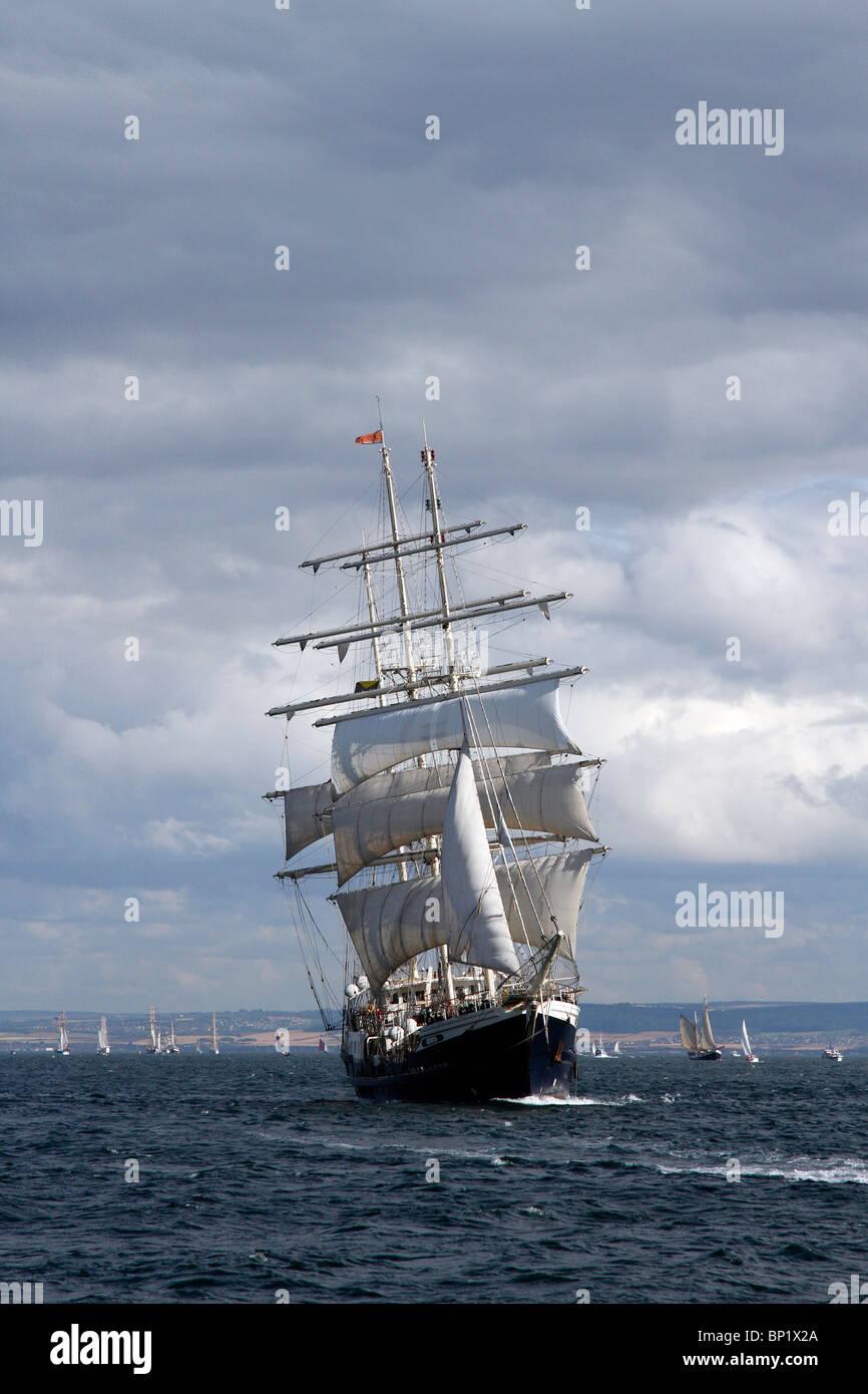SV Tenacious, 65m barque, Class A Tall ships, modern British wooden sail training ship at the Hartlepool Festival - Stock Image