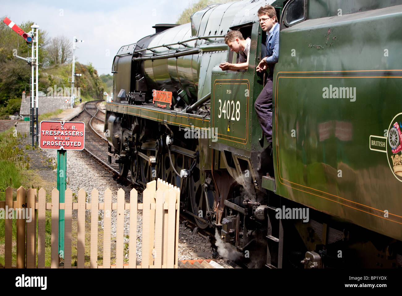 """Eddystone"" steam locomotive working on the Swanage Railway.England, stopped at Corfe village station Stock Photo"