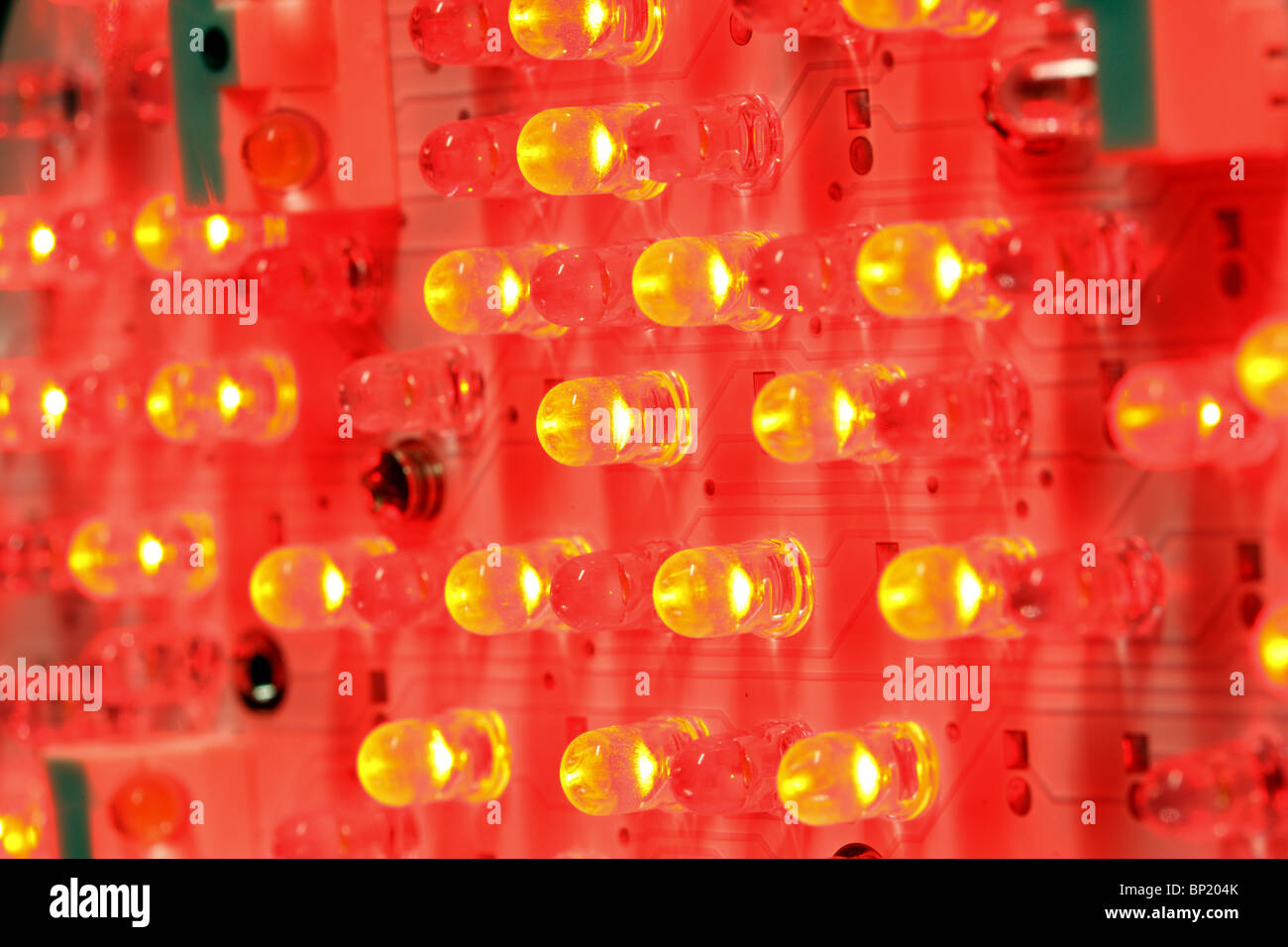 Red LED, electroluminescent diode, light-emitting diode. Stock Photo