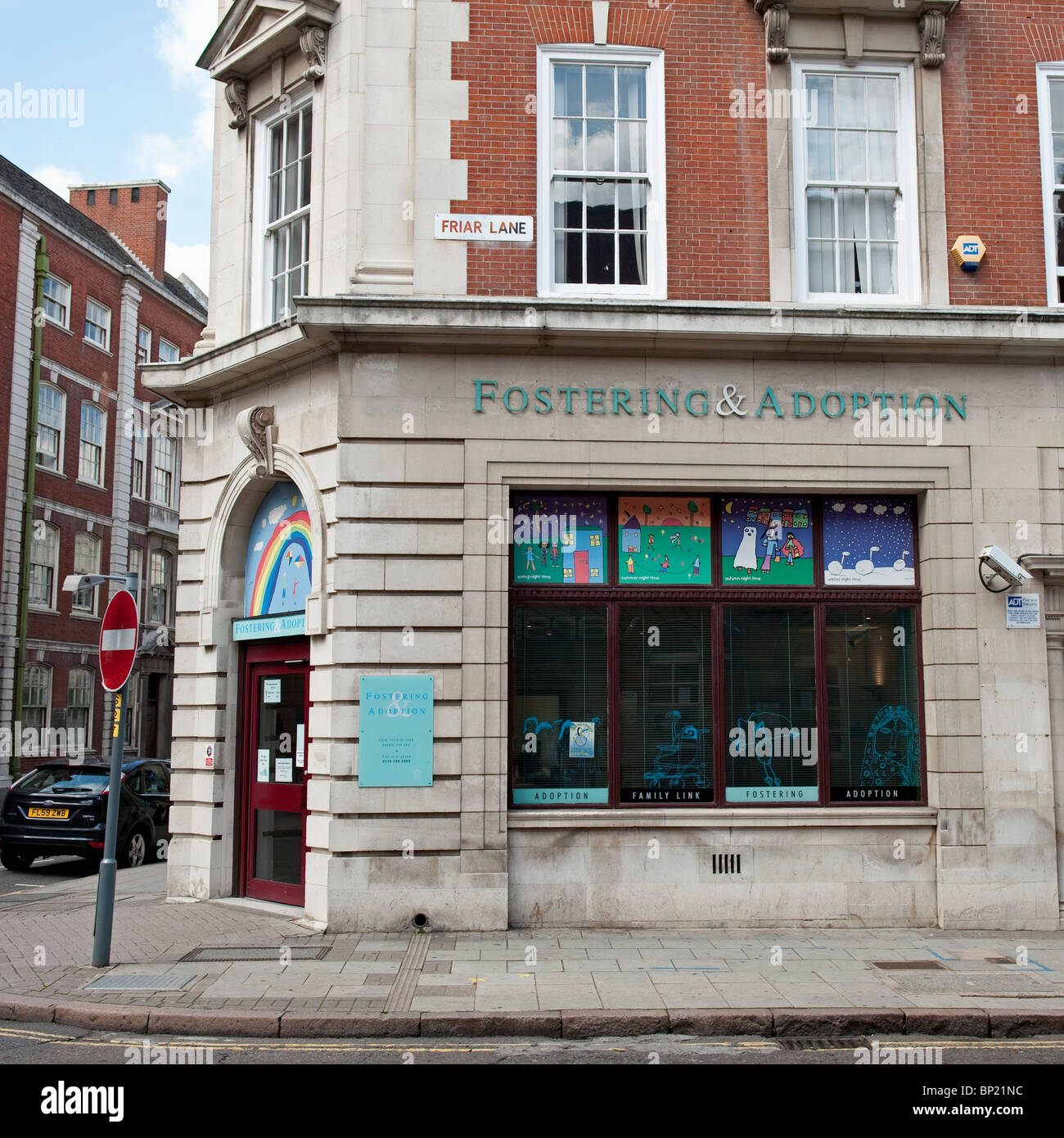 The Fostering & Adoption society on Friar Lane in Leicester City. - Stock Image