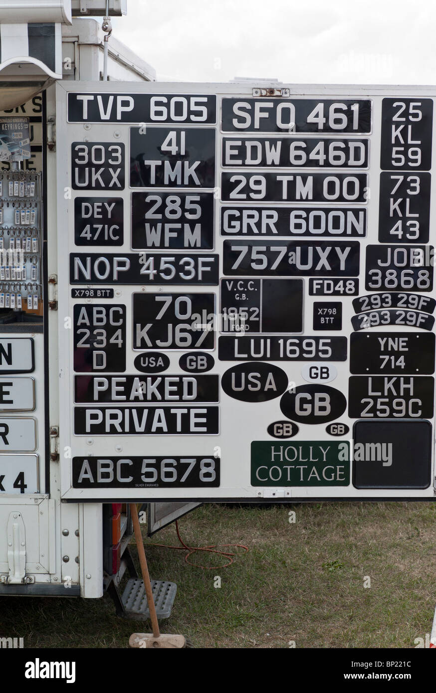 Old car vehicle number plates for sale - Stock Image