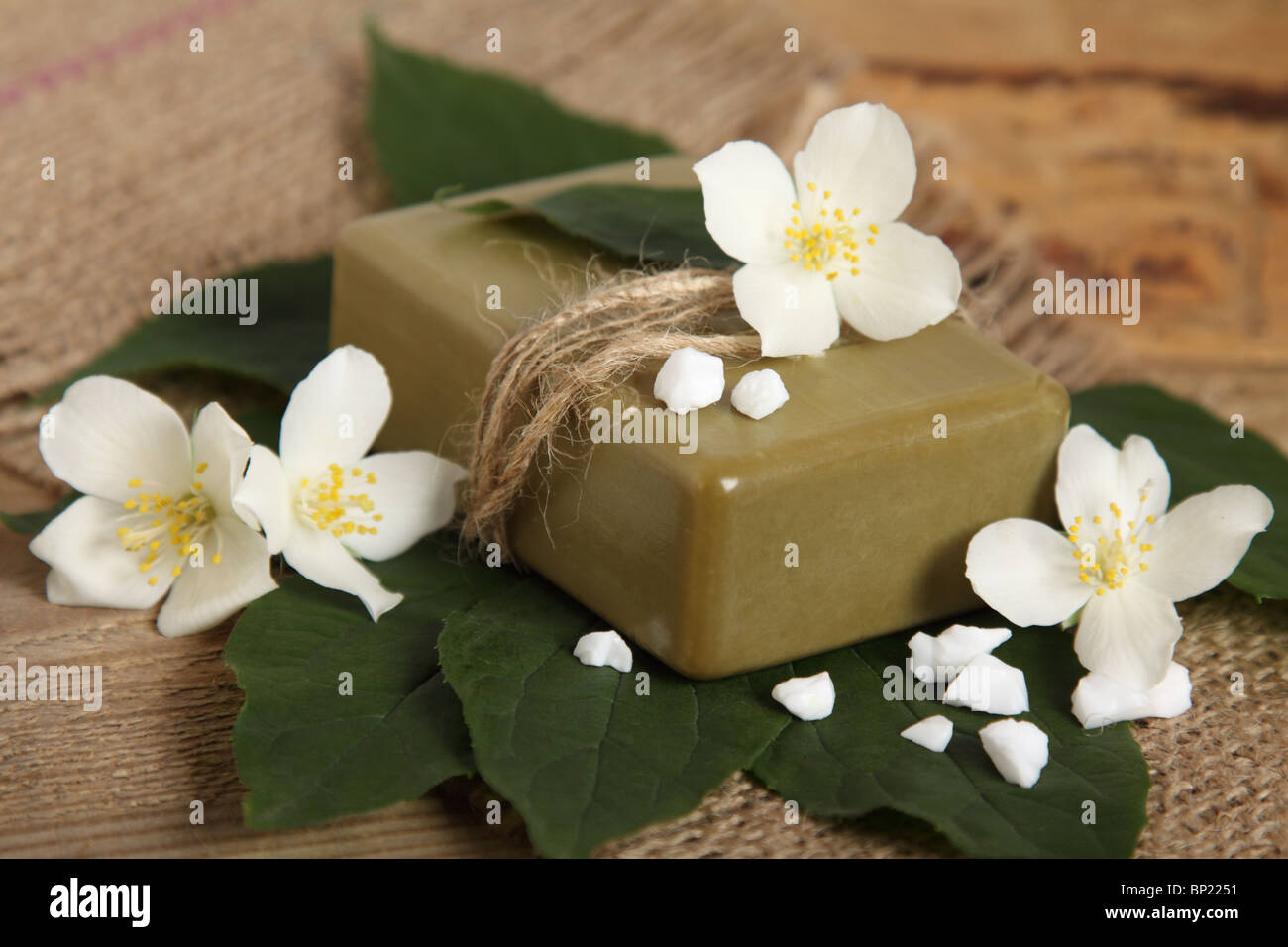 Bar of natural handmade soap on leaves. Spa - Stock Image
