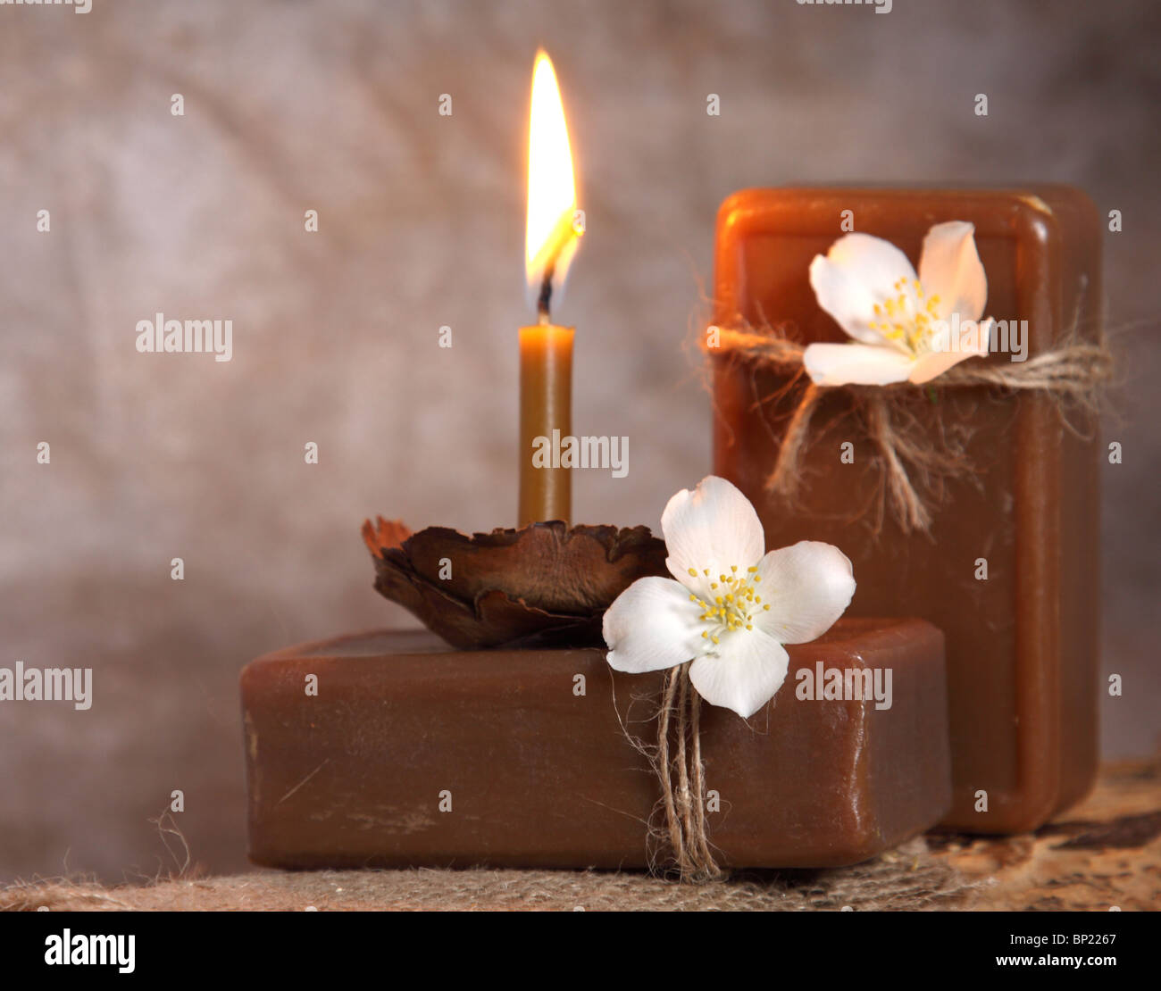 Natural handmade soap and candle. Spa - Stock Image