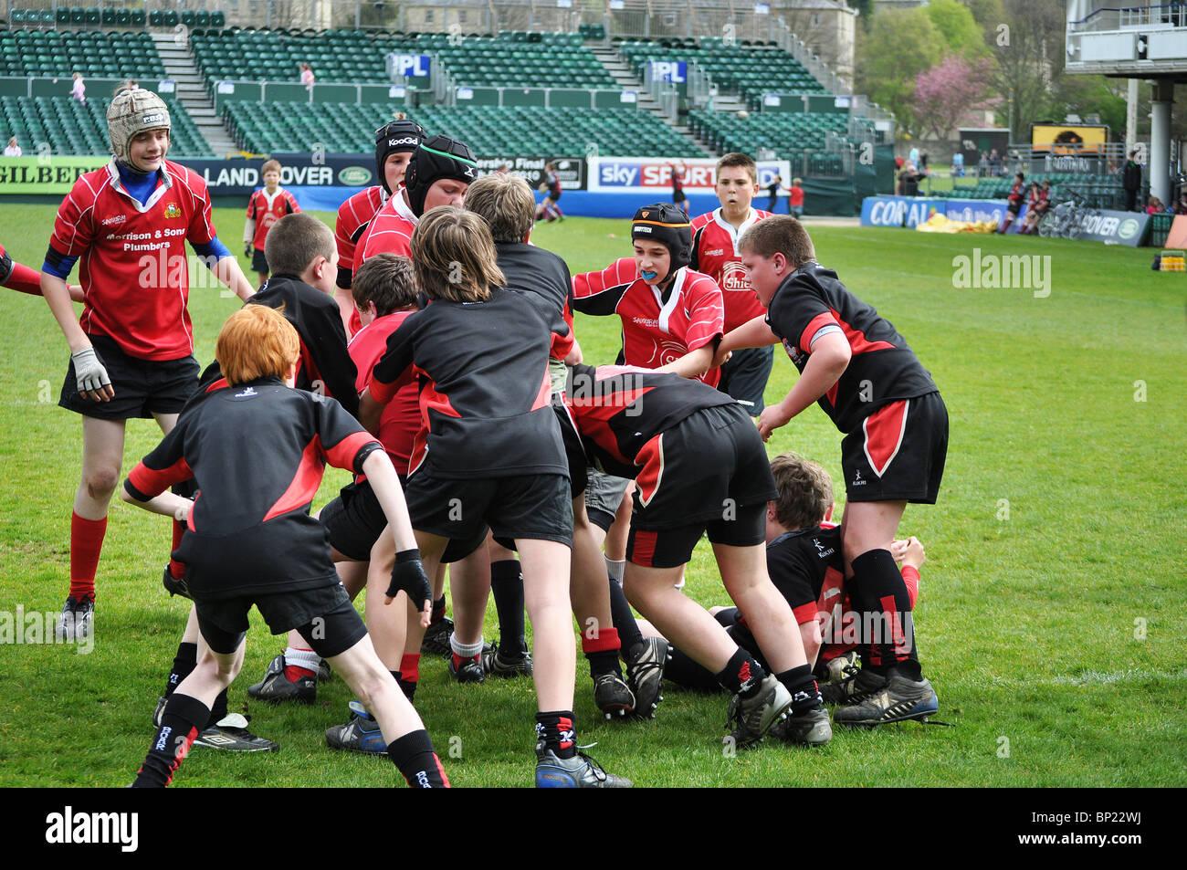 young boys playing rugby, bath, england, uk - Stock Image