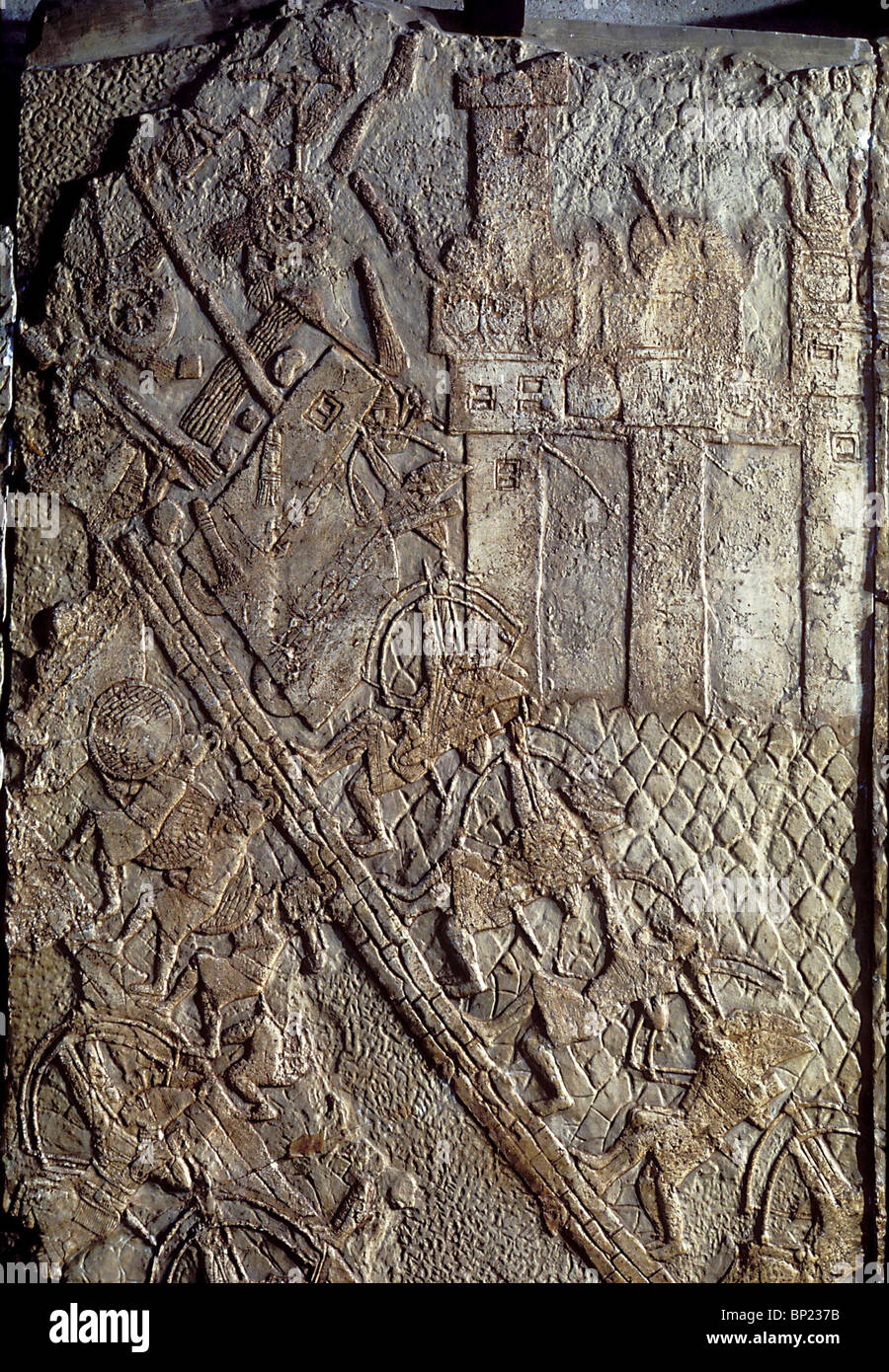 BATTLE SCENES DEPICTING THE CONQUEST OF LACHISH BY THE ASSYRIAN ARMY. RELIEF IN SANNAHERIB'S PALLACE IN NINVEH - Stock Image