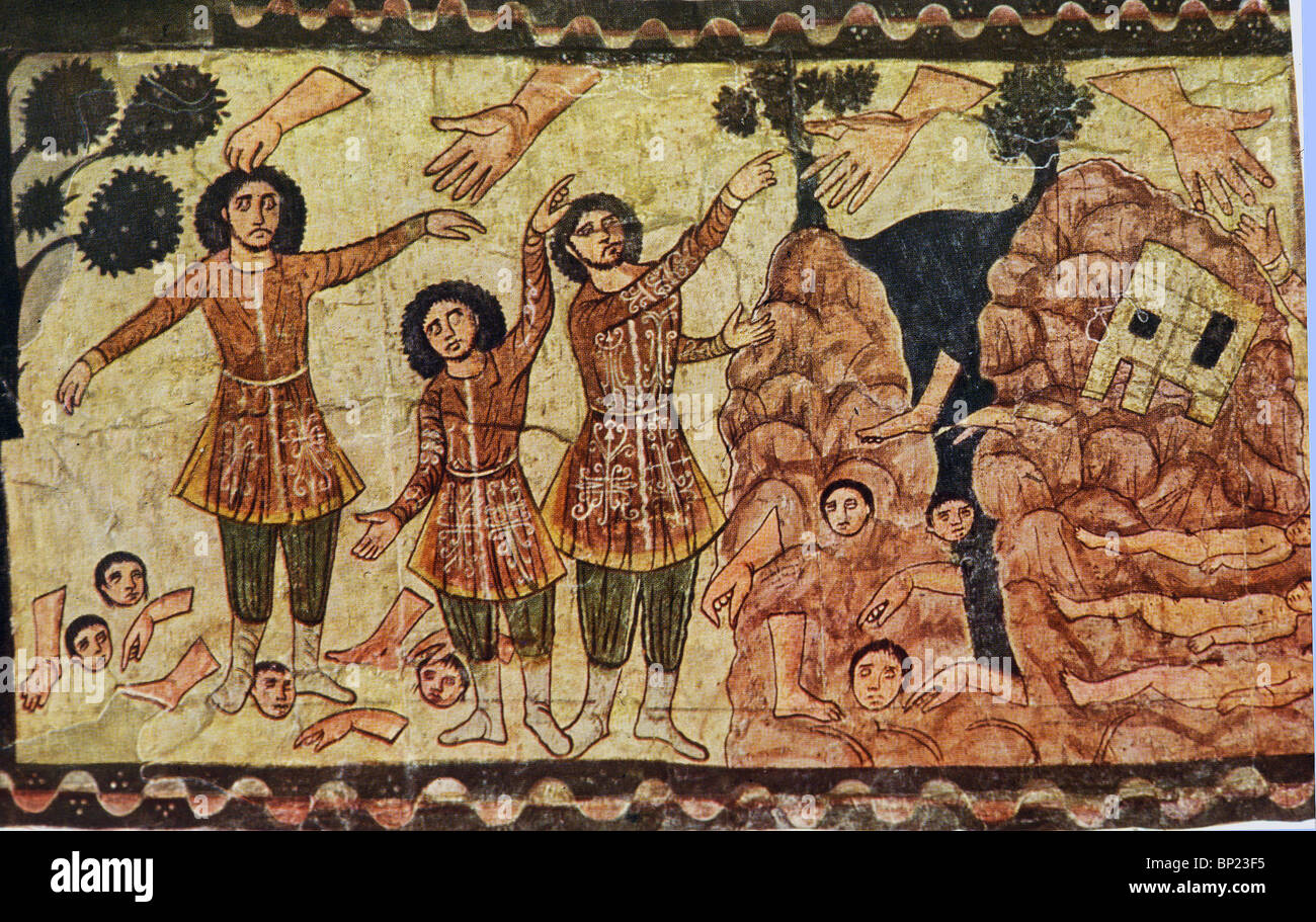 EZEKIEL'S PROPHECY ABOUT THE DESTRUCTION & RESTORATION OF NATIONAL LIFE (CH. 37). WALL PAINTING FROM DURA - Stock Image