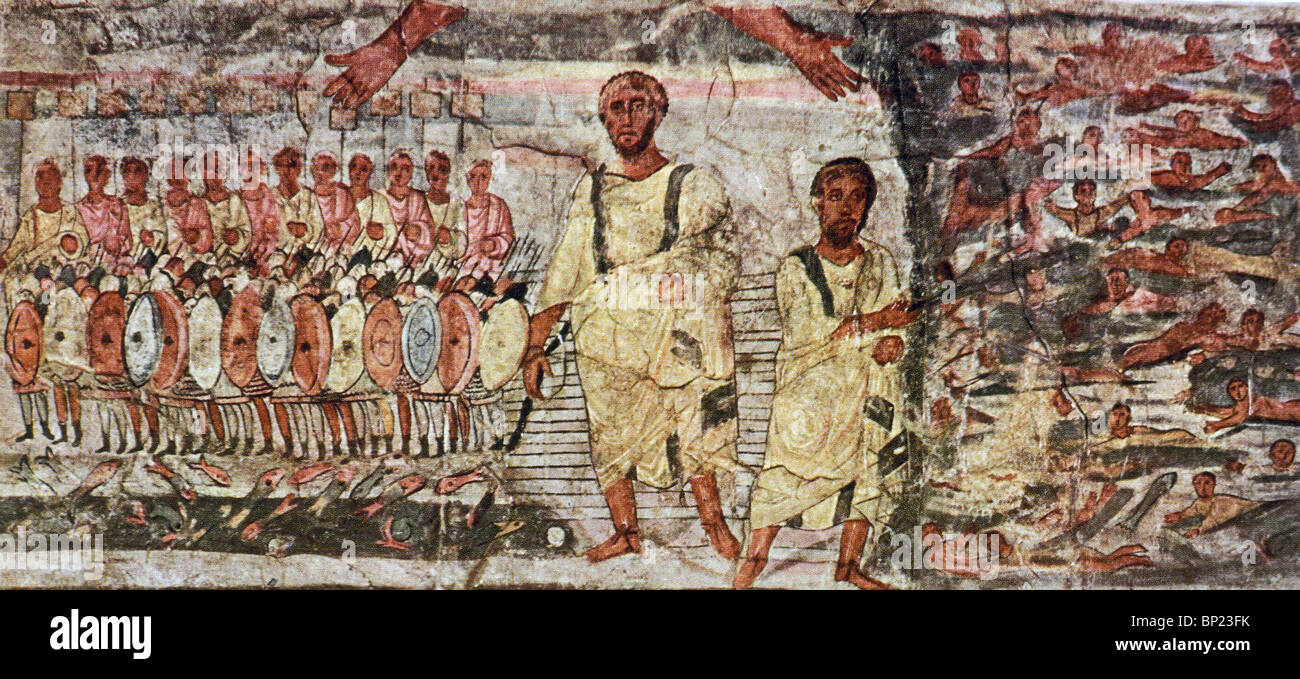 EXODUS & THE CROSSING OF THE READ SEA. WALL PAINTING FROM THE DURA EUROPOS ONE OF THE EARLYEST KNOWN SYNAGOGUES - Stock Image