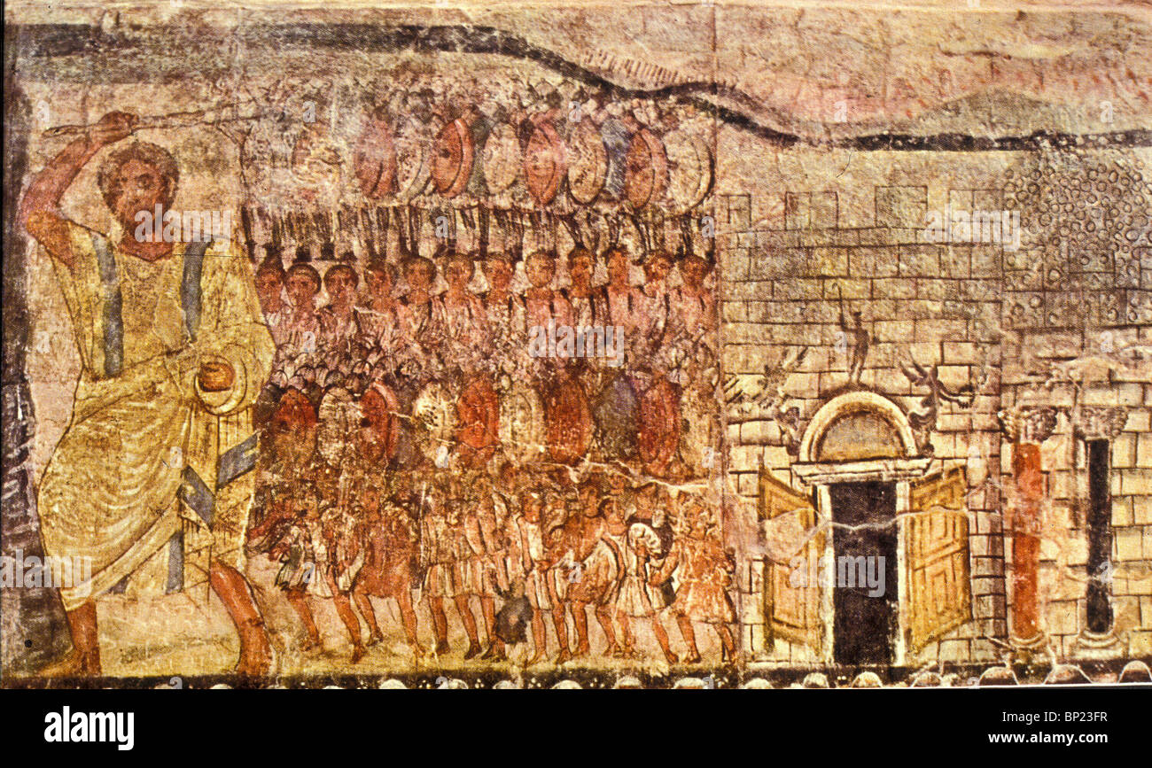 EXODUS & THE CROSSING OF THE READ SEA. WALL PAINTING FROMTHE DURA EUROPOS ONE OF THE EARLYEST KNOWN SYNAGOGUE - Stock Image