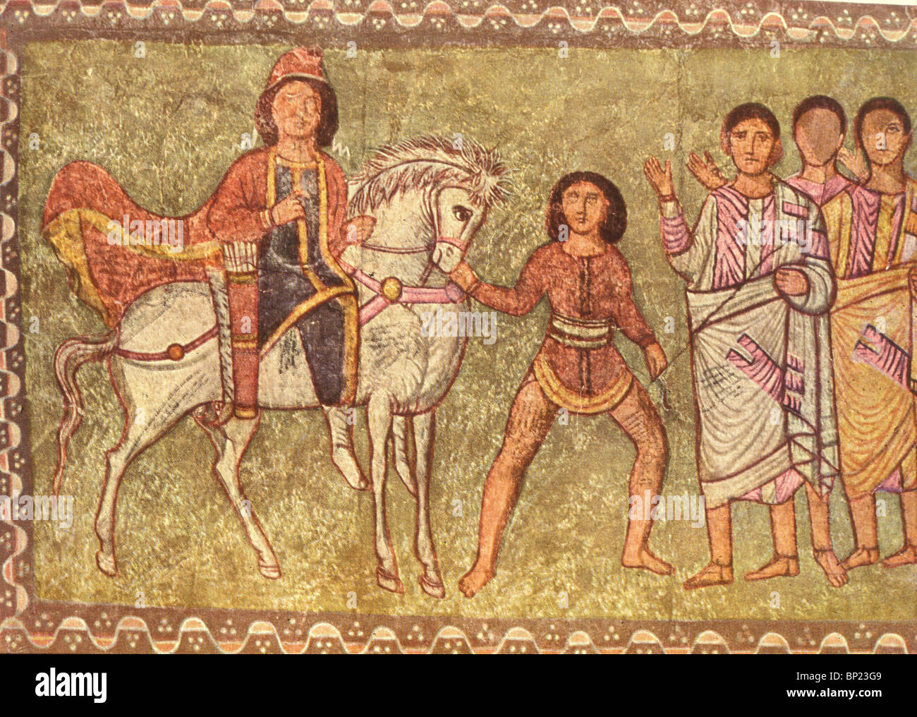 202. MORDECHAI AND HAMAN, WALL PAINTING FROM THE DURA EUROPOS, SYNAGOGUE, 3RD. C. - Stock Image