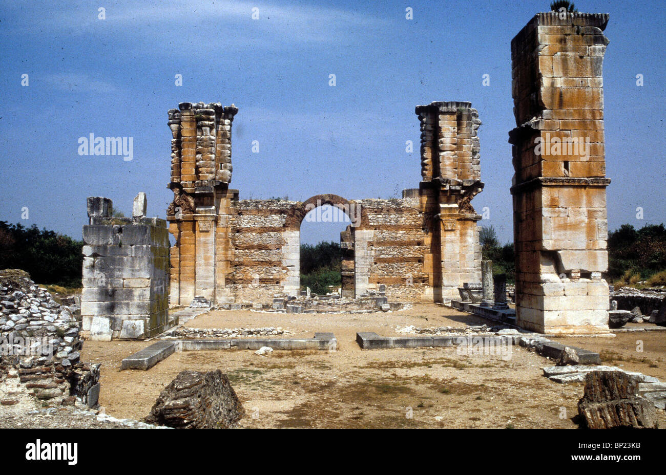 RUINS OF ANCIENT CITY IN NORTHERN GREECE. PAUL VISITED THE CITY DURING HIS FIRST MISSION, AND WAS IMPRISONED (ACTS, - Stock Image