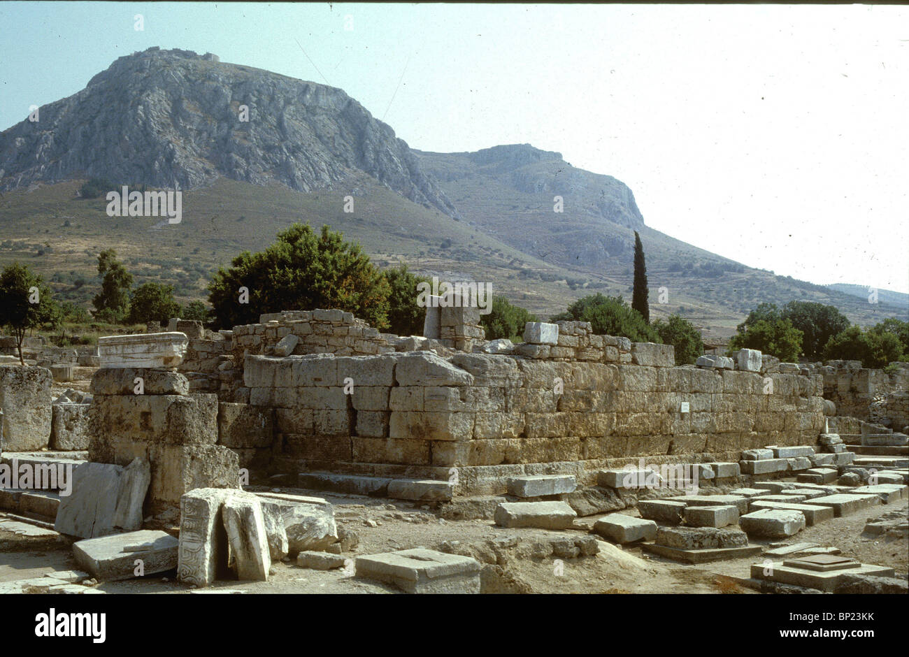 CORINTH, THE BEMA, CEREMONIAL PLATFORM USED FOR PUBLC SPEECHES. IT'S BELIEVED THAT FROM THIS PLACE PAUL ADRESSED - Stock Image