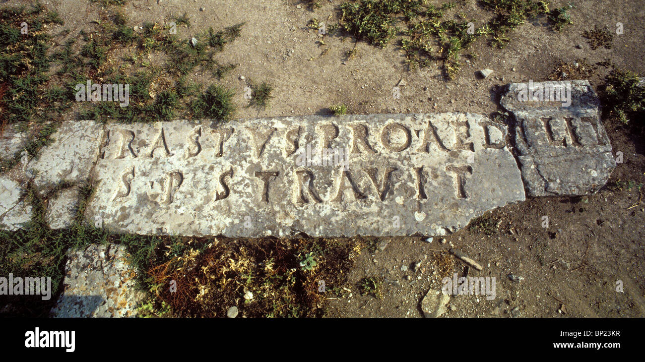244. CORINTH, THE ERASTUS INSCRIPTION MENTIONED BY PAUL '...Erastus the chamberlain of the city saluteth you,...' - Stock Image