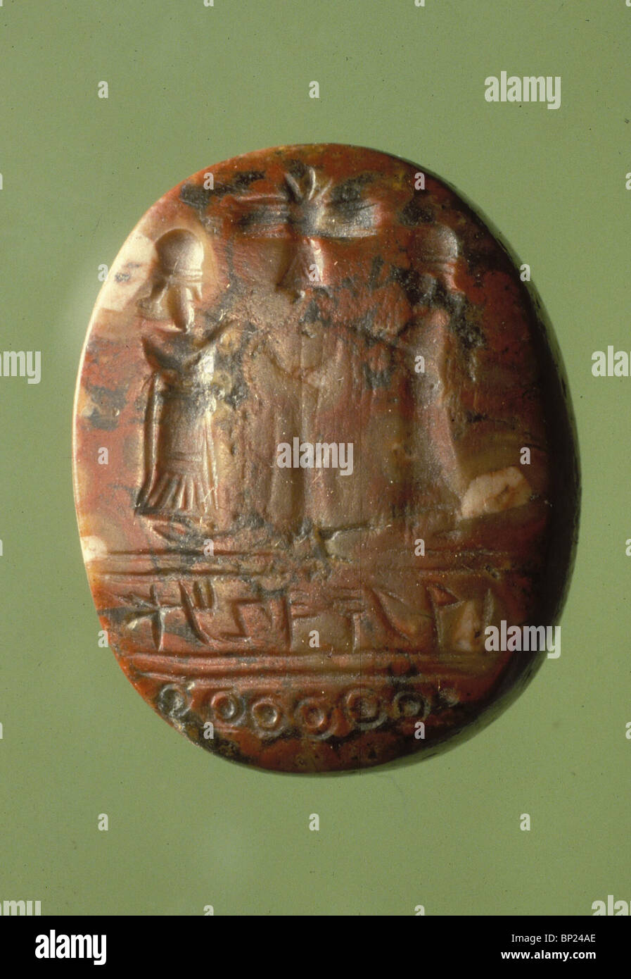 460. JASPER SEAL BEARING THE INSCRIPTION 'AMOS THE SCRIBE' DATING FROM 8-7TH. C. BC. ' - Stock Image