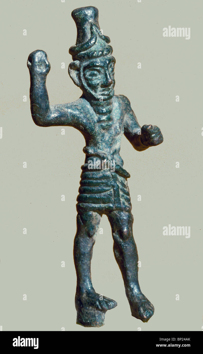 463. BRONZE FIGURINE OF RESHEF, THE PROTECTOR AGAINST EVIL EYE AND MALADIES, 13-14 C. BC. - Stock Image