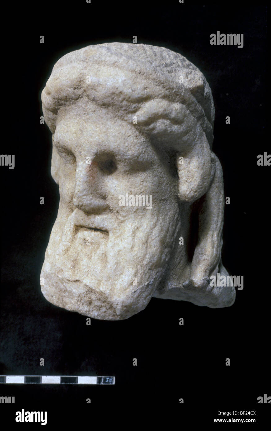 507. MARBLE BUST OF THE GREEK GOD ZEUSS EXCAVATED AT DOR - Stock Image
