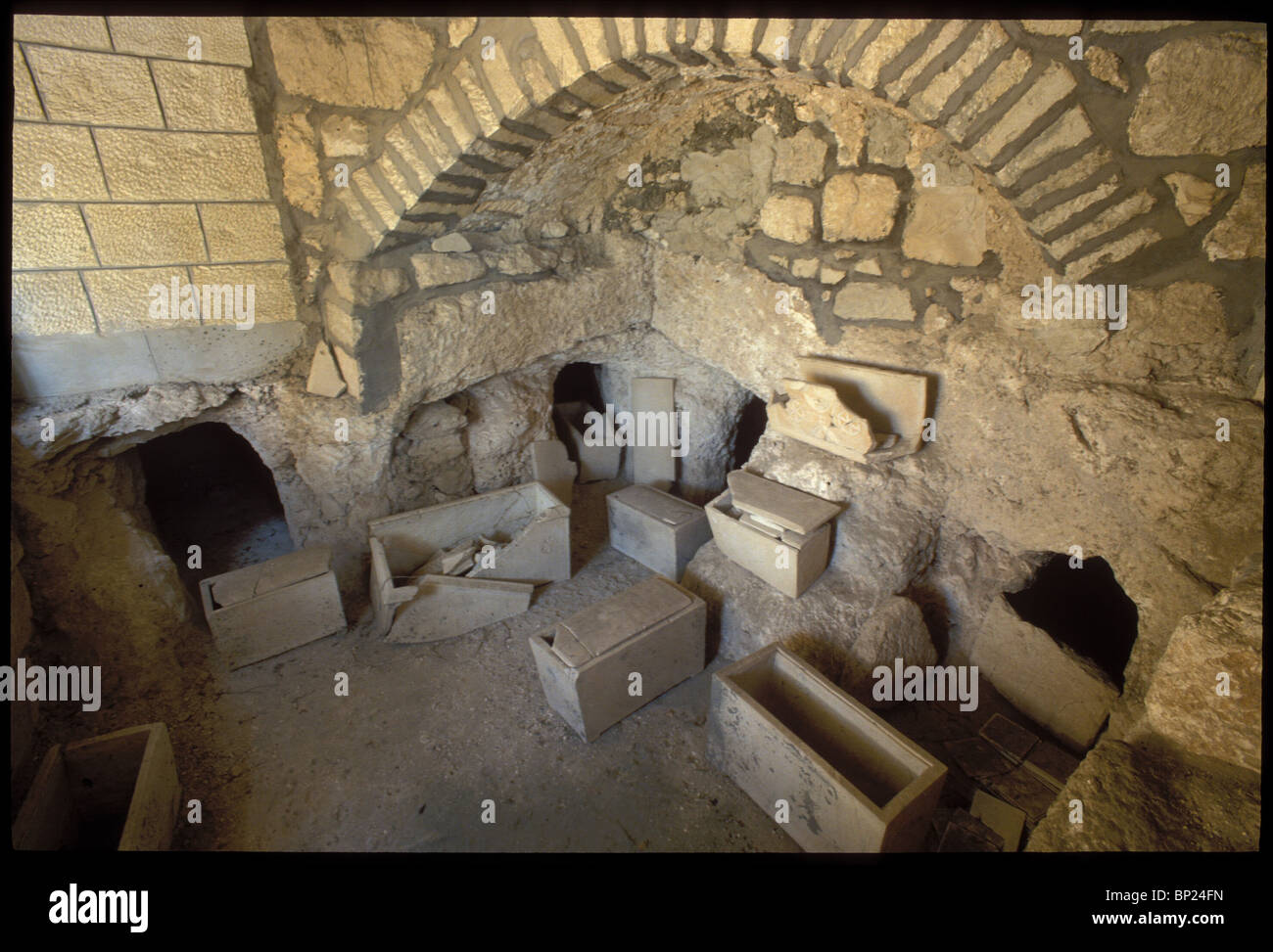 552. ROMAN PERIOD BURIAL CAVES WITH DECORATED OSSUARIES FOUND ON THE MT. OF OLIVES - Stock Image