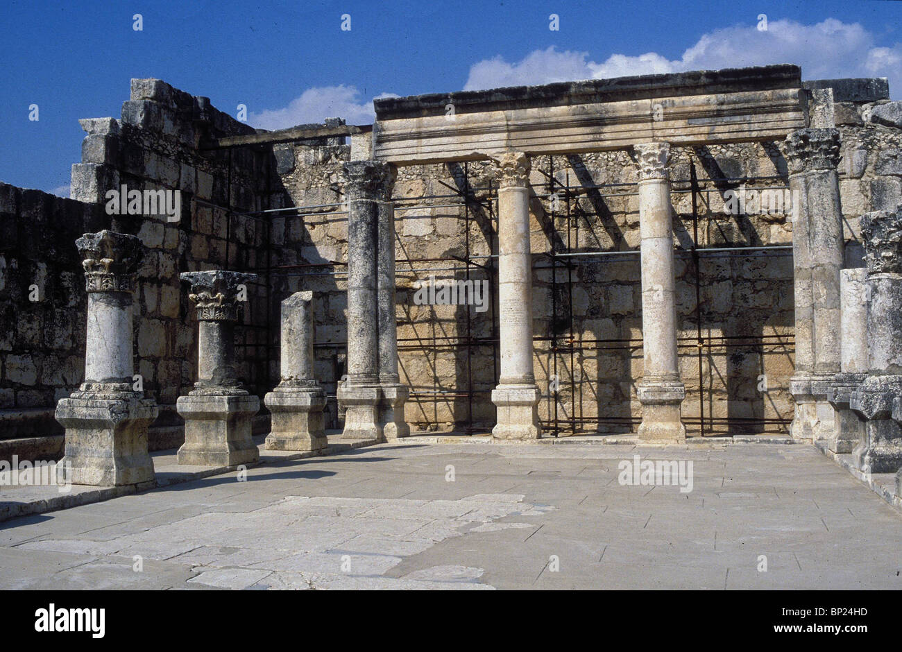 CAPERNAUM - REMAINS OF THE SPLENDID SYNAGOGUE NEAR THE SEA OF GALILEE. IT STOOD IN THE CENTREE OF THE VILLAGE MENTIONED - Stock Image