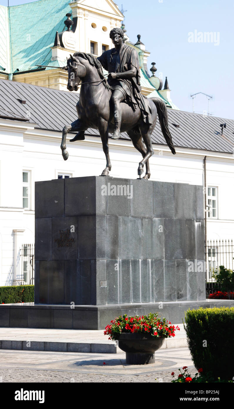 Prince Jozef Poniatowski sculpture in Front of the Presidential Palace, Warsaw, Poland - Stock Image