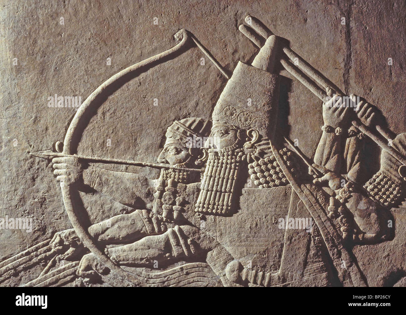 1013. KING ASHURBANIPAL OF ASSYRIA, 668 - 627 B.C. RELIEF FROM THE ROYAL PALACE IN NINVEH - Stock Image
