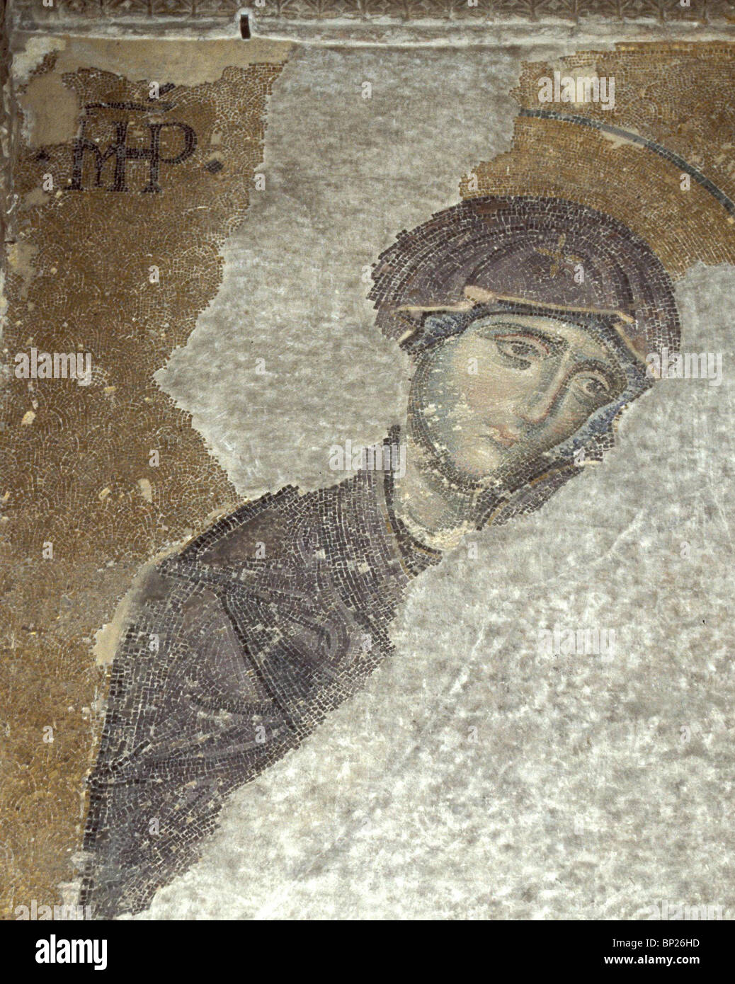 1096. THE VIRGIN MARY, 9TH. C. MOSAIC FROM HAGIA SOPHIA, ISTAMBUL - Stock Image