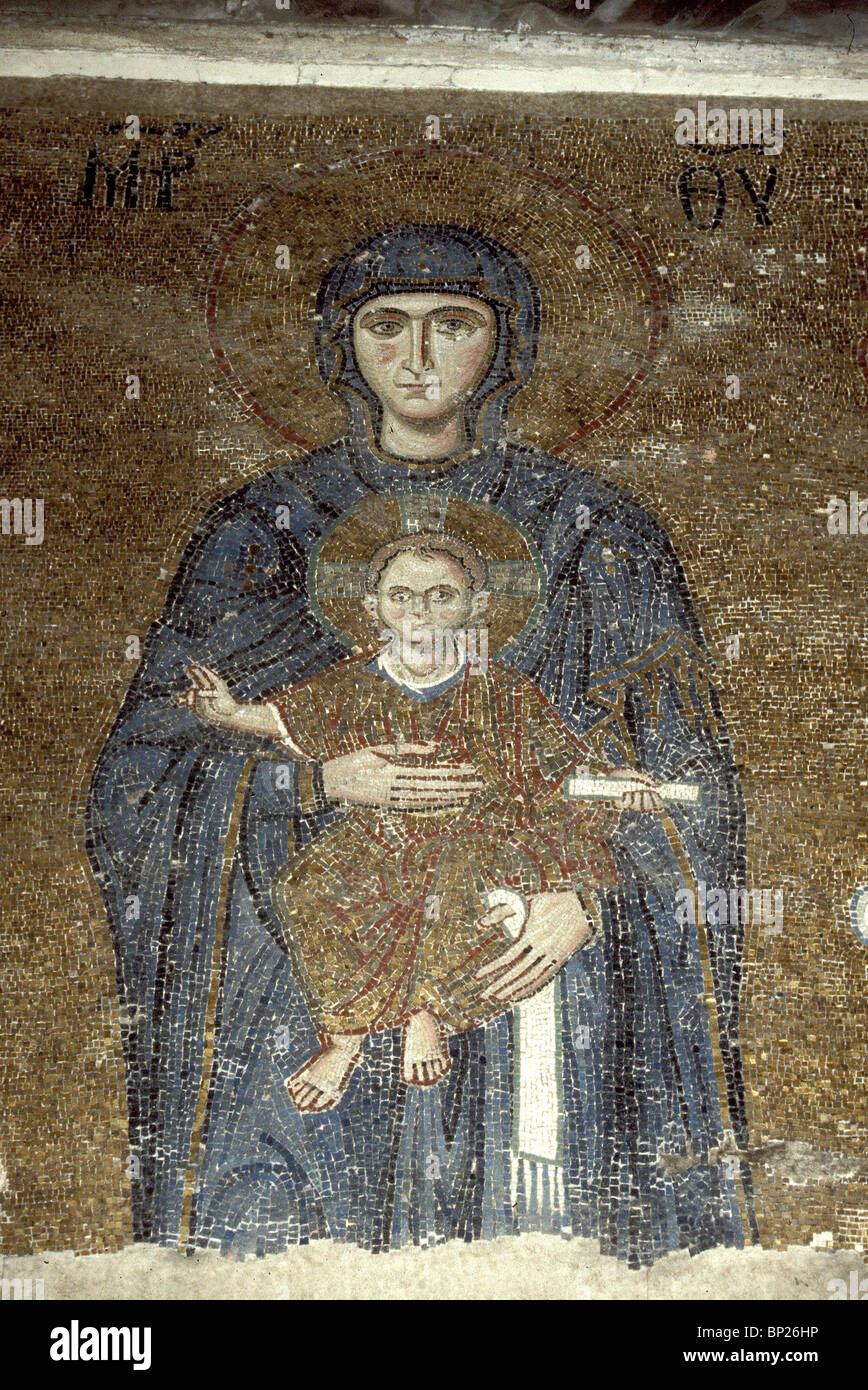 1103. HAGIA SOPHIA, 12TH. C. MOSAIC DEPICTING MARY WITH INFANT CHRIST - Stock Image