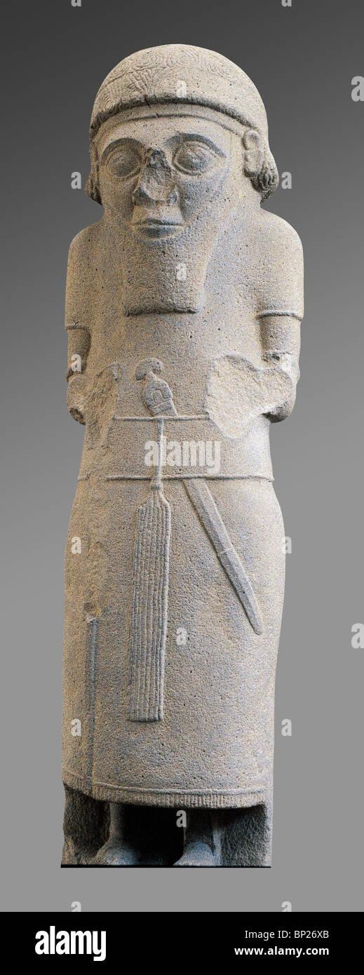 STATUE OF AN ARAMEAN KING, SAMAL, 9TH C. B.C. - Stock Image