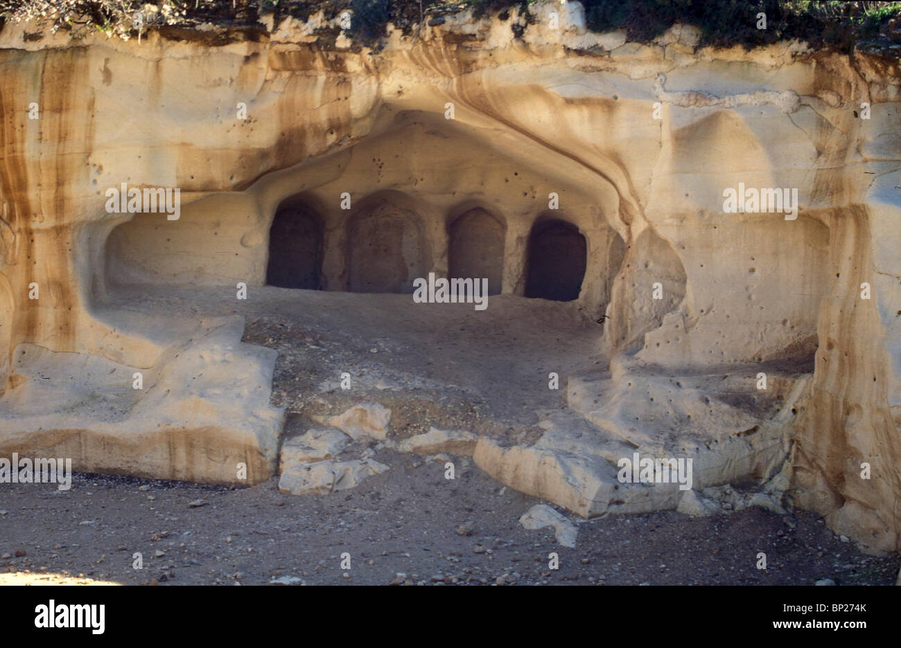 1466. MARESHA, GROUP OF BURIAL CAVES NORTH OF THE TEL - Stock Image
