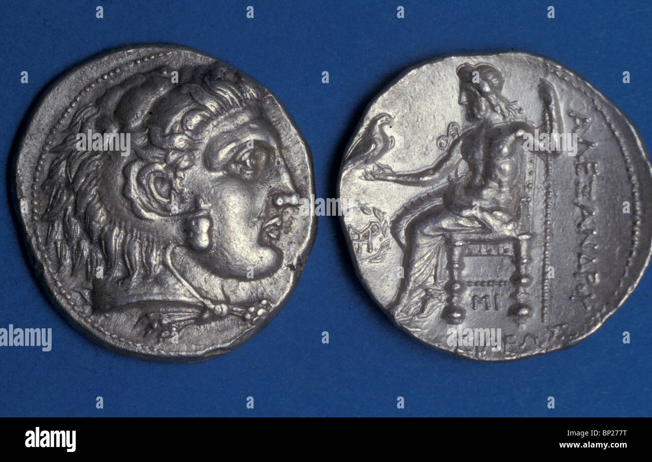 TYREAN SILVER DENAR WITH THE BUST OF ALEXANDER THE GREAT WITH A LION'S SKIN AS HEADDRESS obverse: ZEUS SEATED - Stock Image