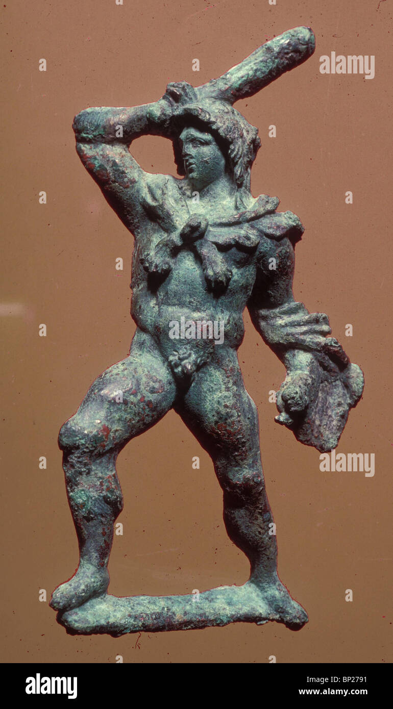 1547. BRONZE FIGURINE DEPICTING ALEXANDER THE GREAT AS HERKULES. SEPPHORIS EXCAVATIONS - Stock Image