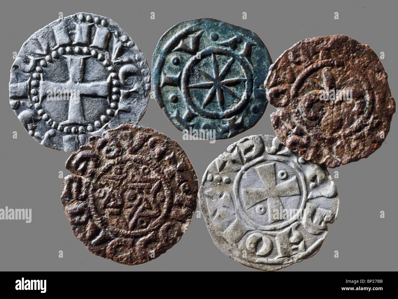 1631. CRUSADER PERIOD COINS ISSUED IN JERUSALEM WITH THE SYMBOLS OF THE DIFFERENT ORDERS - Stock Image