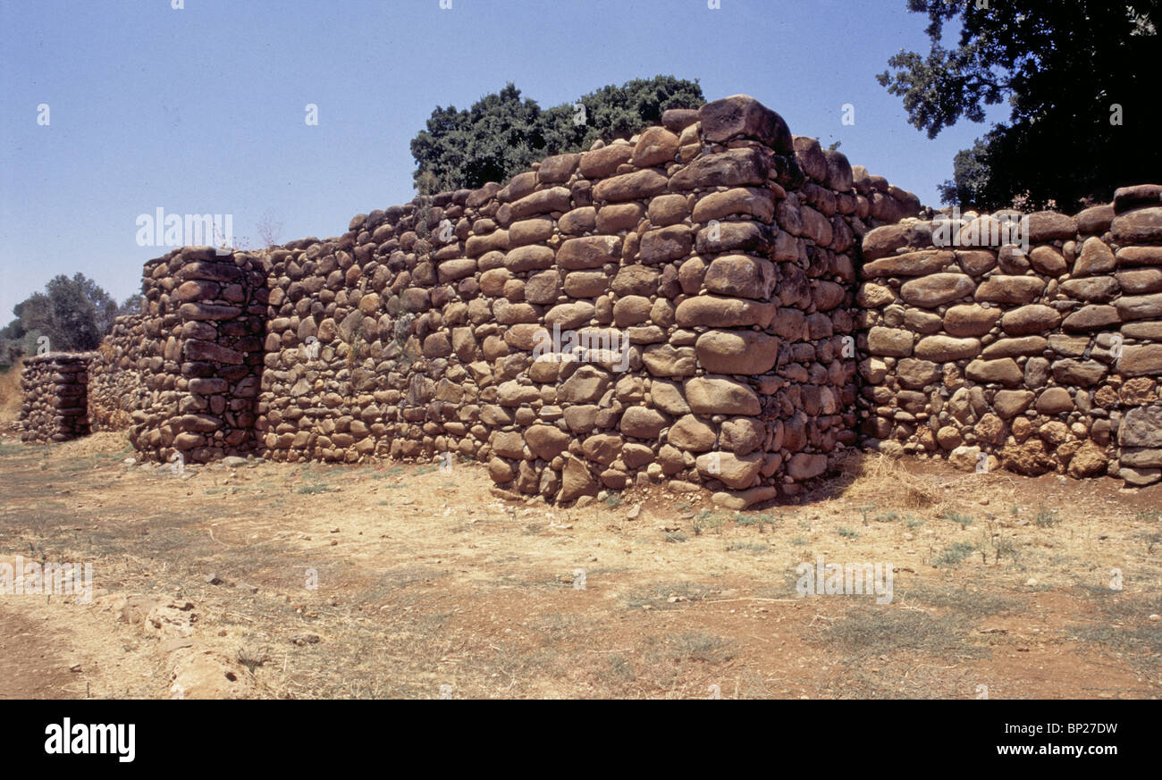 1685. DAN - THE CITY WALLS AND TOWERS BUILT BY KING JEROBOAM I. IN THE 10TH. C. B.C. - Stock Image