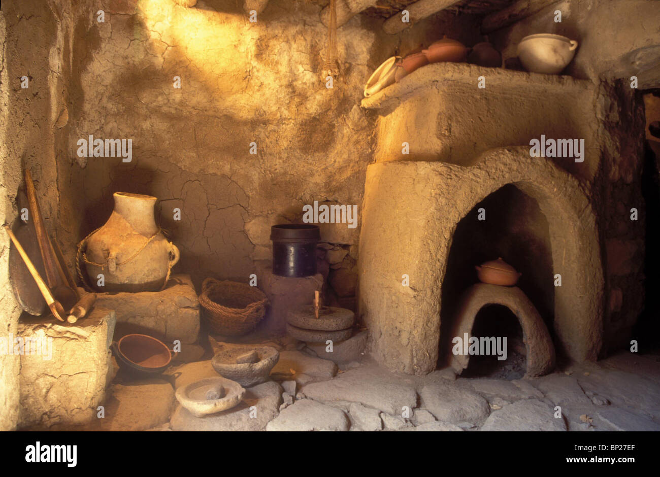 1700. RECONSTRUCTION OF A RURAL HOUSE IN NORTHERN ISRAEL. C. 4TH. C. AD - Stock Image