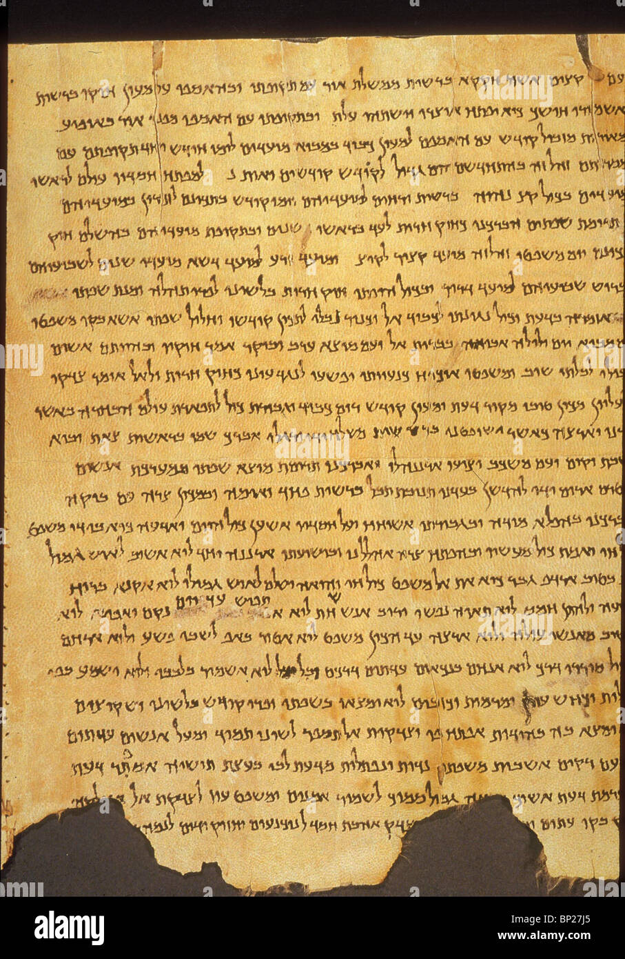 870. DETAIL OF THE ISAIAH SCROLL, QUMRAN, CAVE NO. 6 - Stock Image