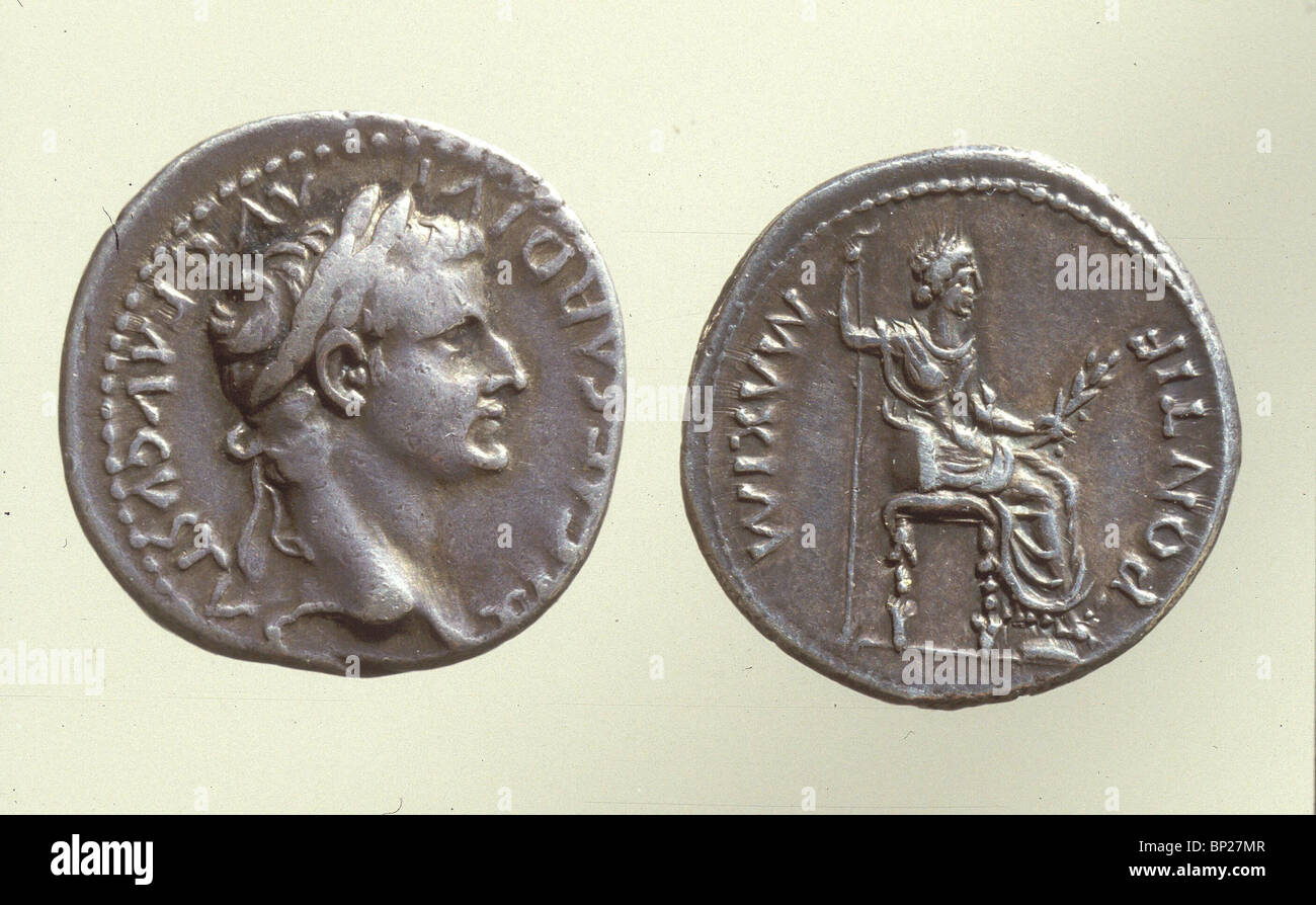 931. ROMAN COIN WITH THE BUST OF EMPEROR AUGUSTUS, (30 BC. - 14 AD.) - Stock Image