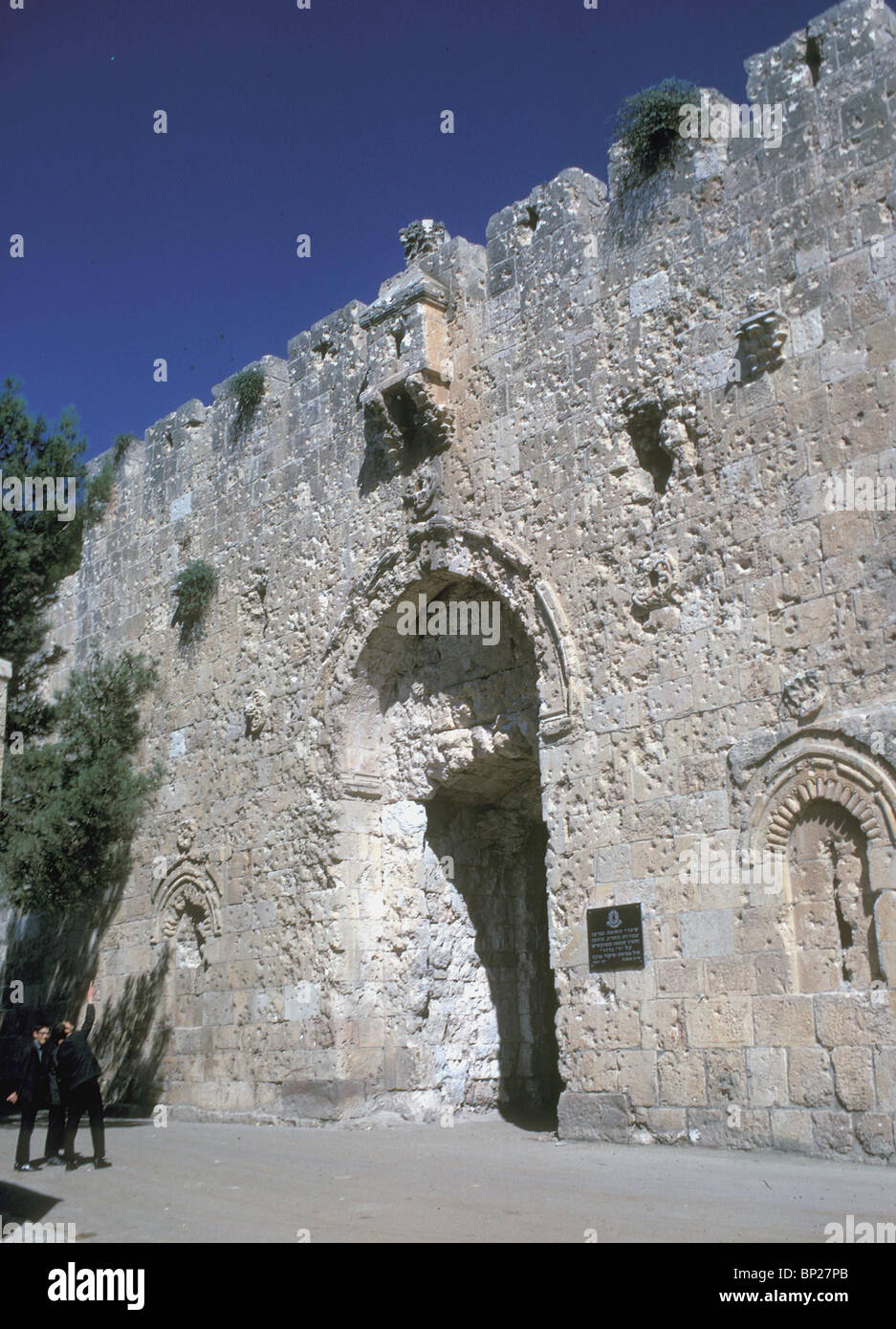 JERUSALEM - THE ZION GATE, SOUTHERN ENTRANCE TO THE CITY FROM MT. ZION. THE GATE WAS DAMAGED IN THE 1948 WAR OF - Stock Image
