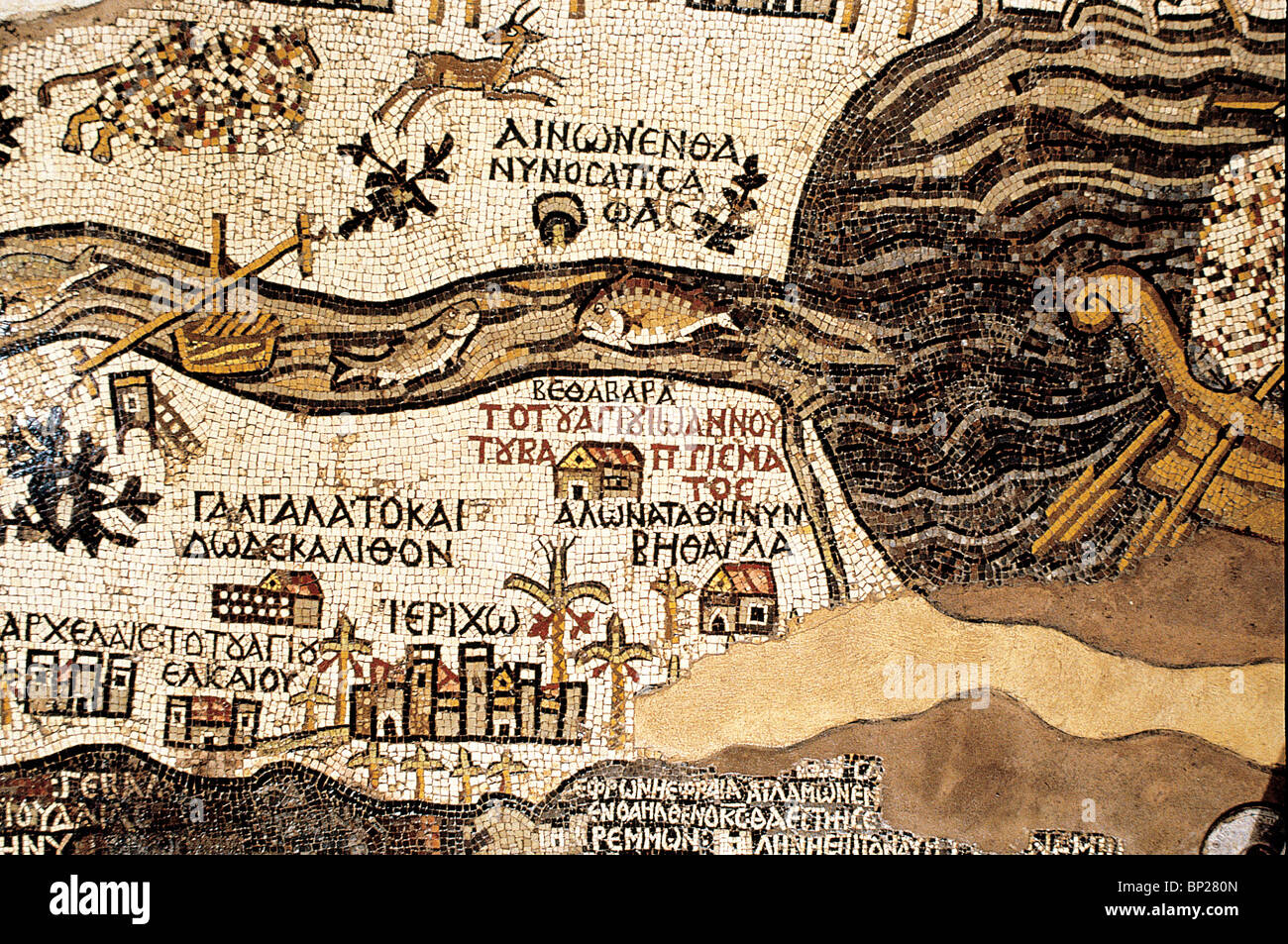 DETAIL OF THE MOSAIC FLOOR OF THE 5TH. C. AD CHURCH AT MADABA (TRANS JORDAN), SHOWING DETAILED MAP OF THE CITY  - Stock Image