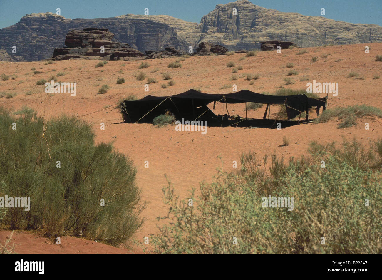 1811. BEDUIN TENTS IN THE DESERT OF WADI RAM IN WESTERN JORDAN NEAR AQABA - Stock Image