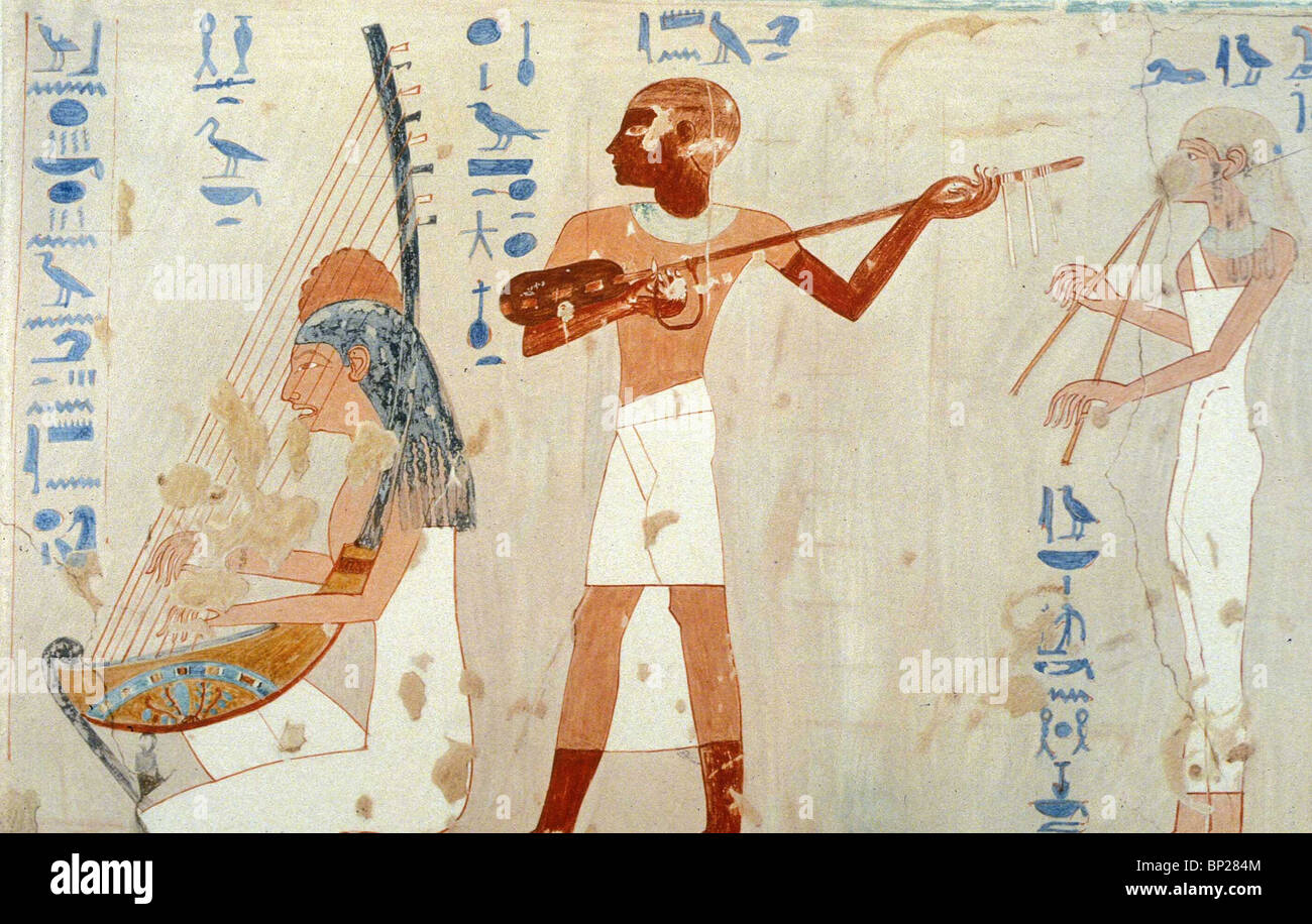 1823. MUSICIANS AT A BANQUET, THEBES, TOMB OF AMENENHET, TITHMOSIS III. 1475 - 1448 B.C. Stock Photo