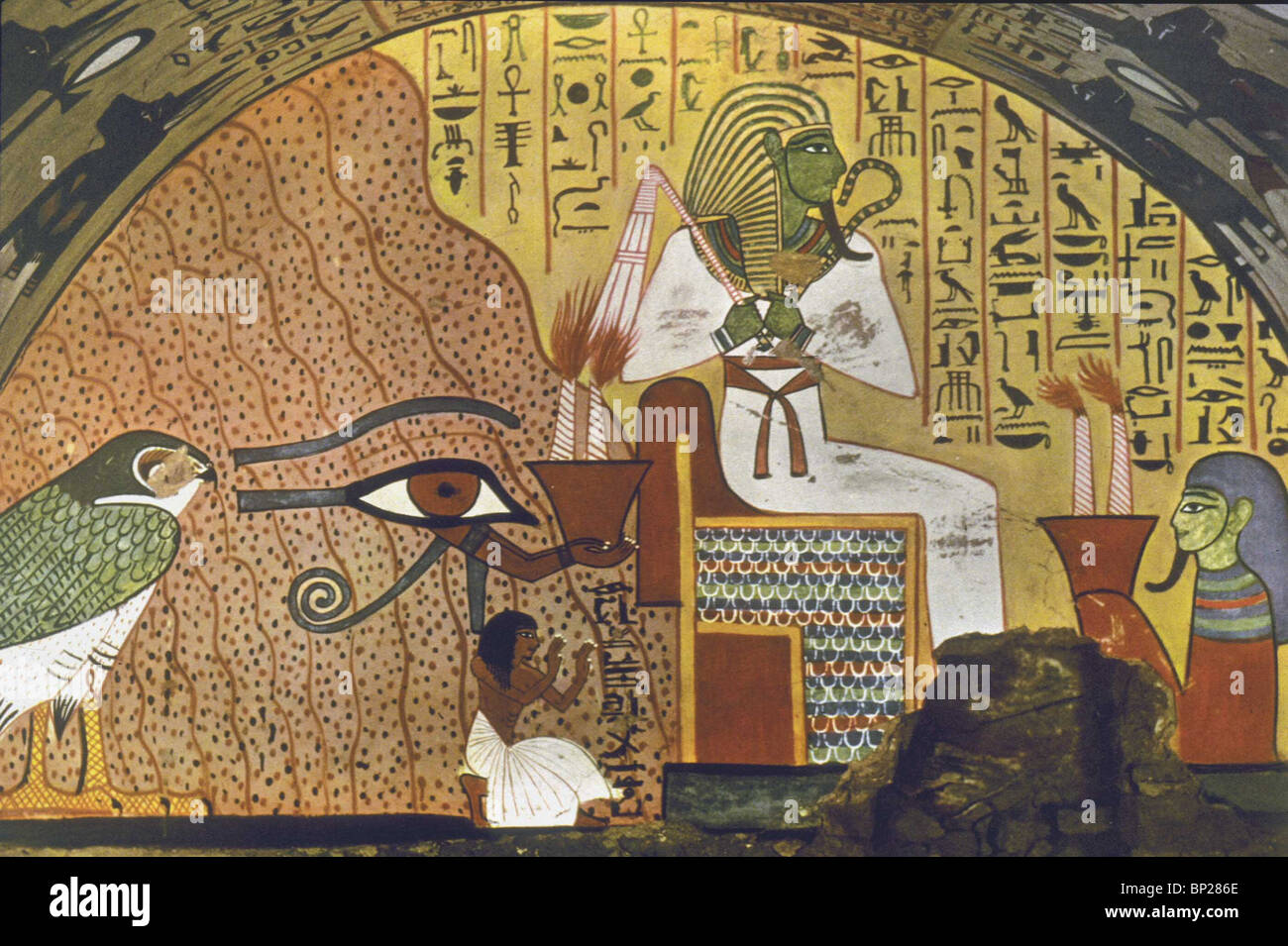 1889. THE DEAD MAN KNEELS BESIDE OSIRIS BEFORE WHOM SQUATS A GENIE WITH TWO LIGHTED TORCHES. TOMB OF PASHED, THE - Stock Image