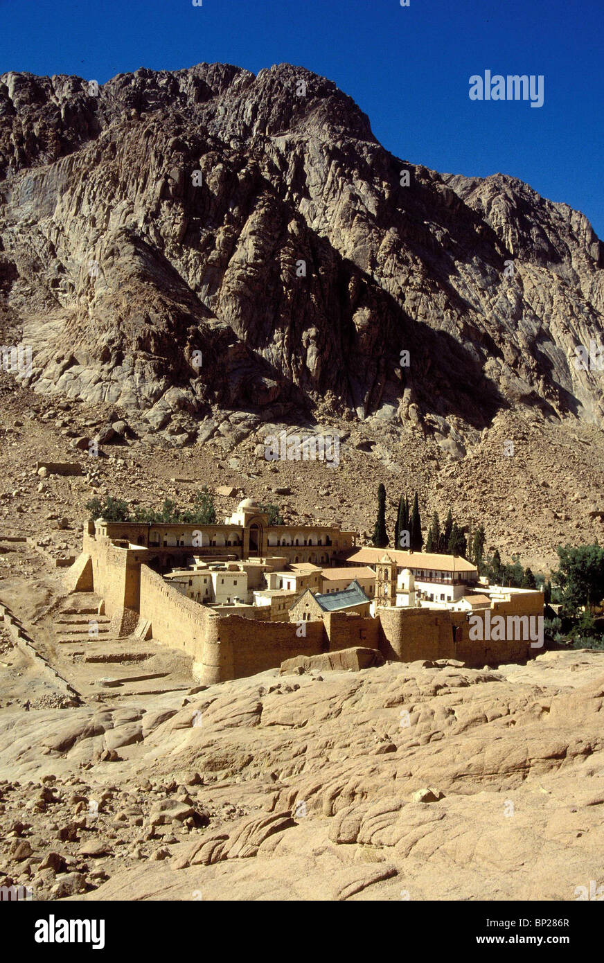 1896. THE MONASTERY OF ST. CATHERINA AT THE BASE OF MT. SINAI - Stock Image