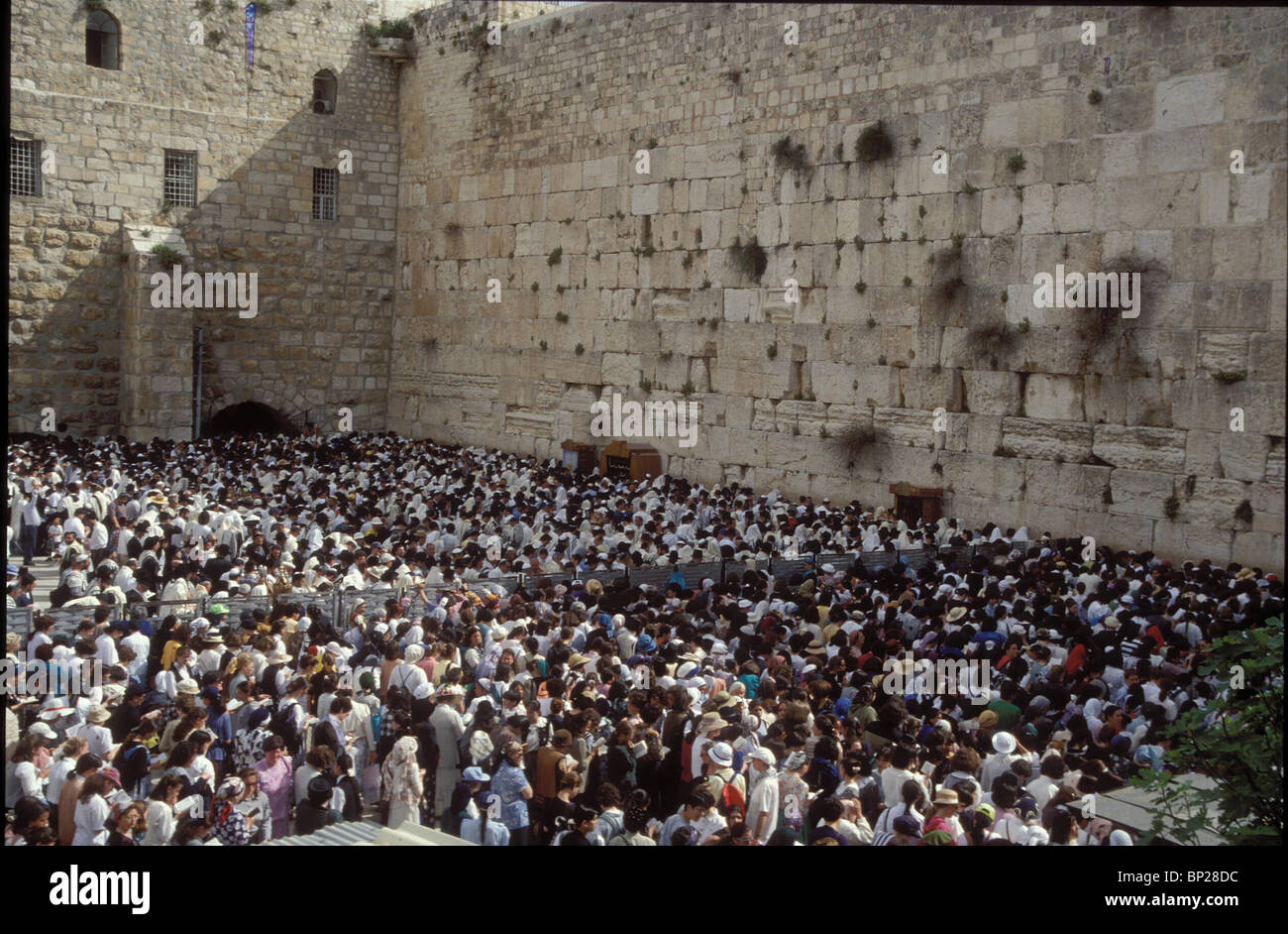2080. PILGRIMS AT THE WESTERN WALL DURING THE PASSOVER PILGRIMAGE - Stock Image