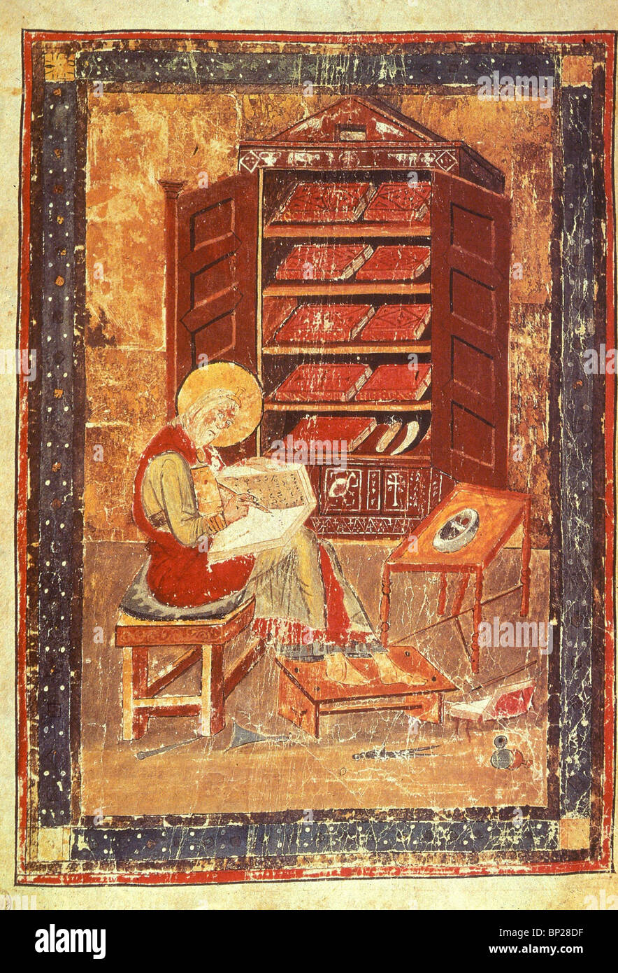 2083. EZRA THE SCRIBE, ILLUSTRATION FROM A 7 - 8TH. C. ILLUMINATED MANUSCRIPT FROM ITALY - Stock Image