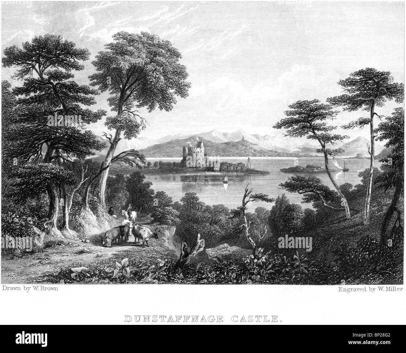 An engraving of Dunstaffnage Castle, near Oban,Scotland - scanned at high resolution from a book published in 1830. - Stock Image