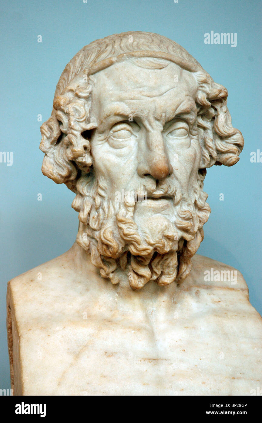 2176. MARBLE BUST OF HOMER - Stock Image
