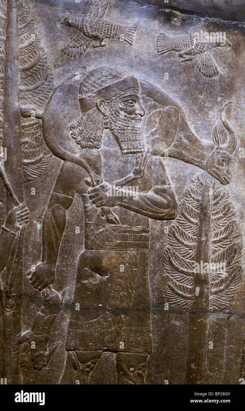 2174. HUNTER AND DEER, RELIEF FROM THE PALACE OF THE ASSYRIAN KING SARAGON  II. AT KHORSABAD, 8TH. C. B.C.