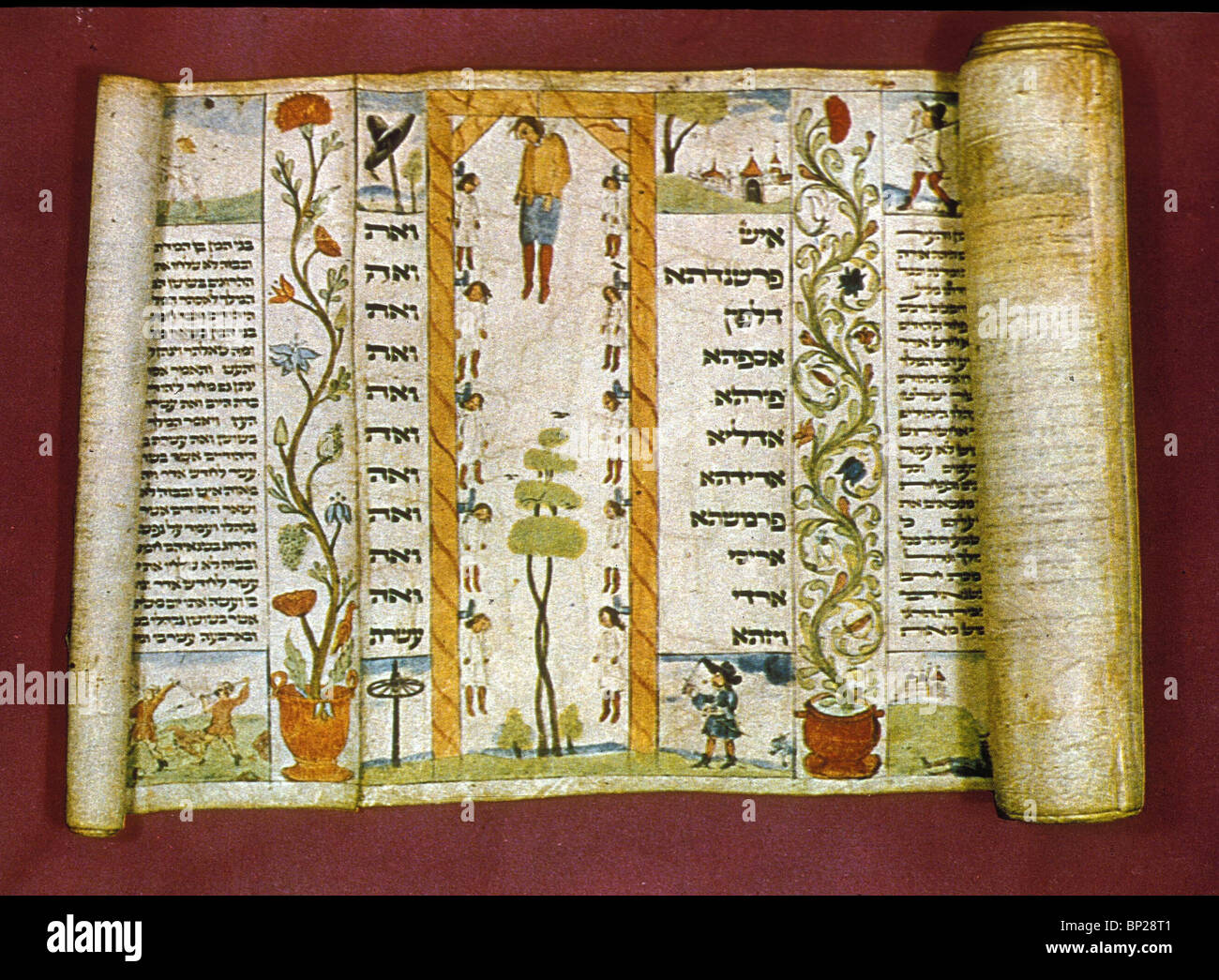 SCROLL OF ESTHER READ ON PURIM TO COMMEMORATE THE DELIVERY OF THE JEWS FROM HAMAN. THE ILLUMINATED PAGE DEPICTS - Stock Image