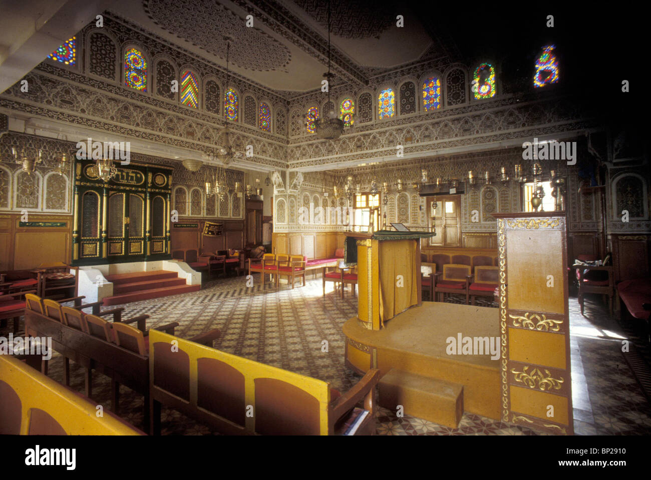 2469. FEZ (MOROCO) SYNAGOGUE, INTERIOR WITH THE ARK Stock Photo